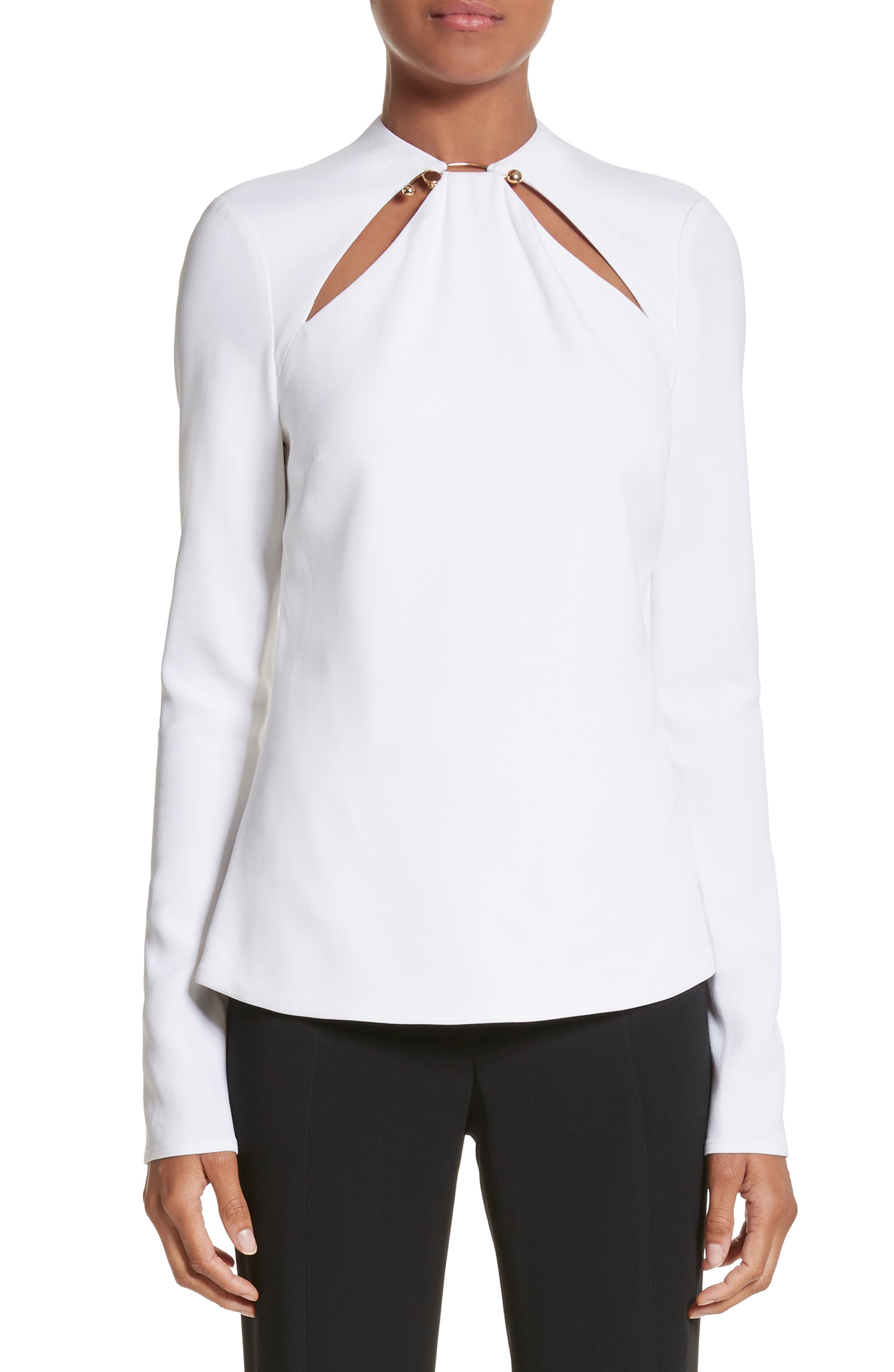 Ring Detail Cutout Stretch Crepe Blouse,                         Main,                         color, White/ Gold