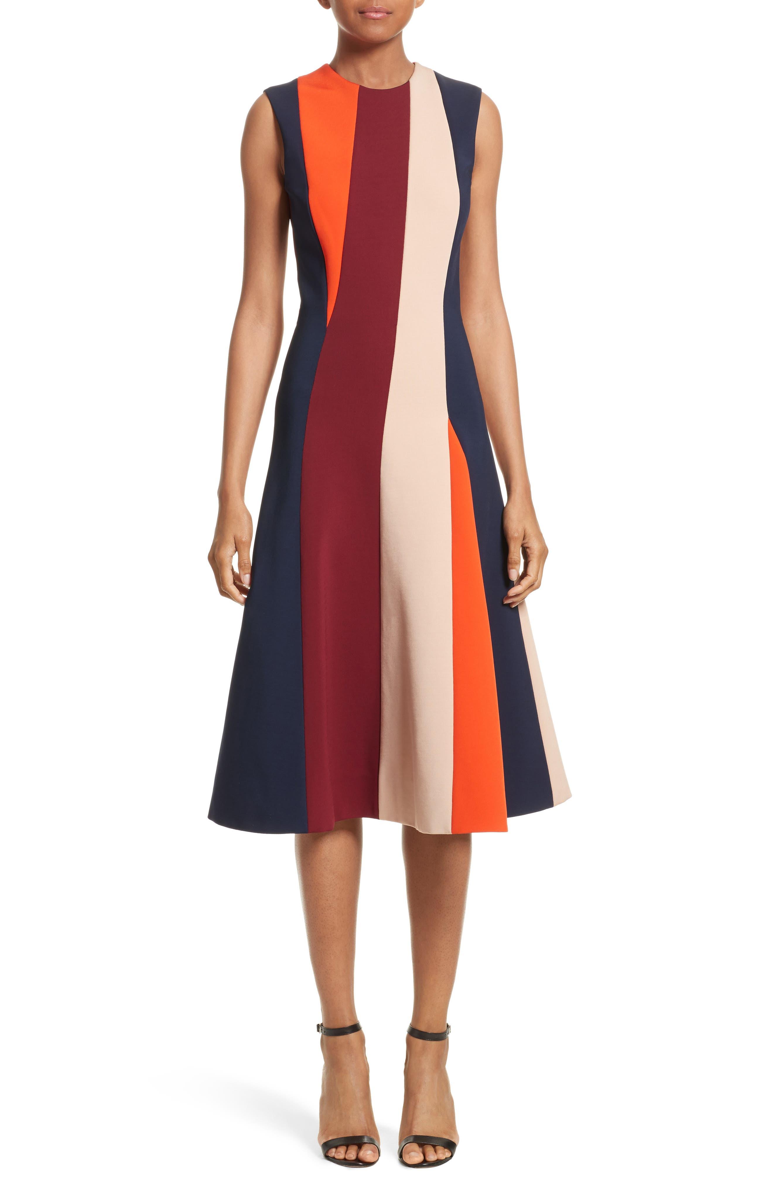 Stripe Flare Dress,                         Main,                         color, Multi