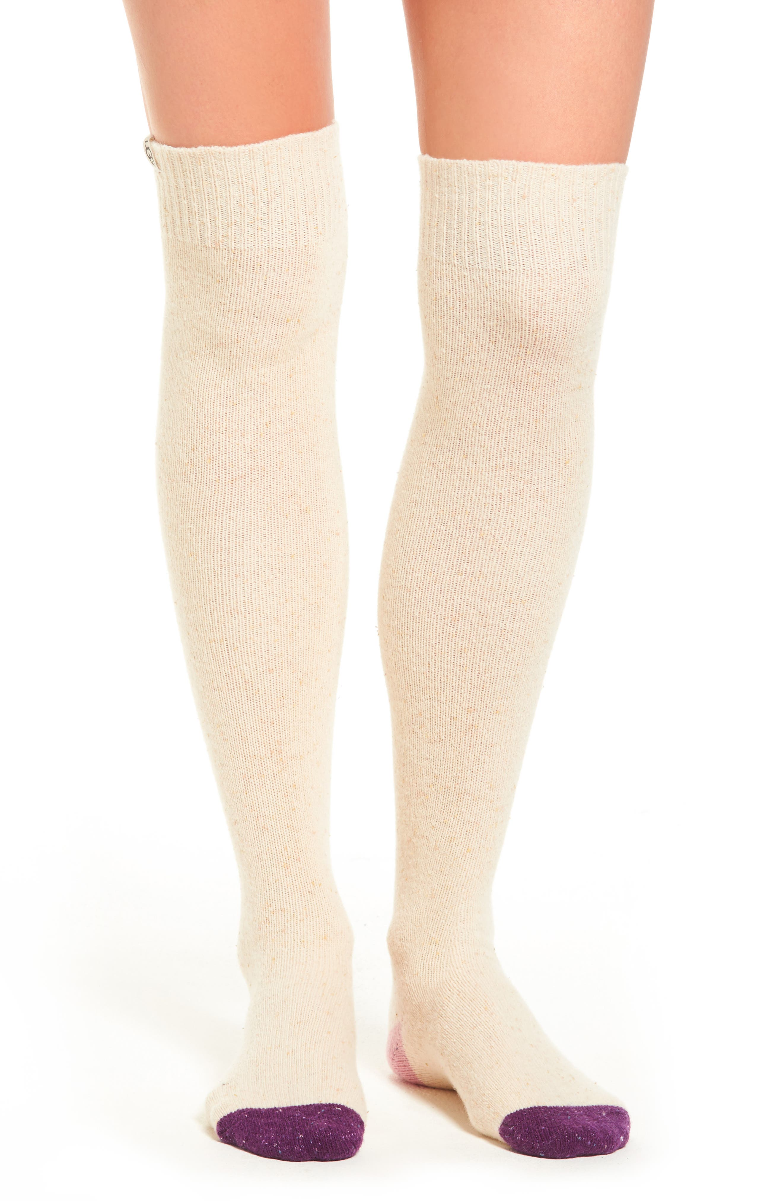 Colorblock Over the Knee Socks,                         Main,                         color, Powder