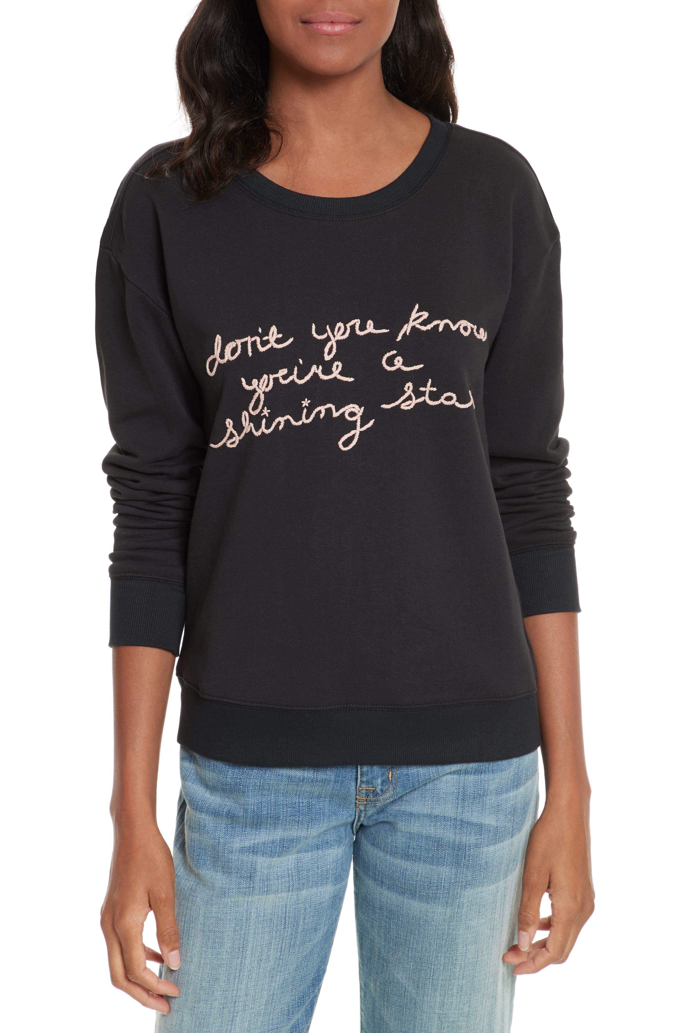 Rikke B Embroidered Sweatshirt,                         Main,                         color, Caviar