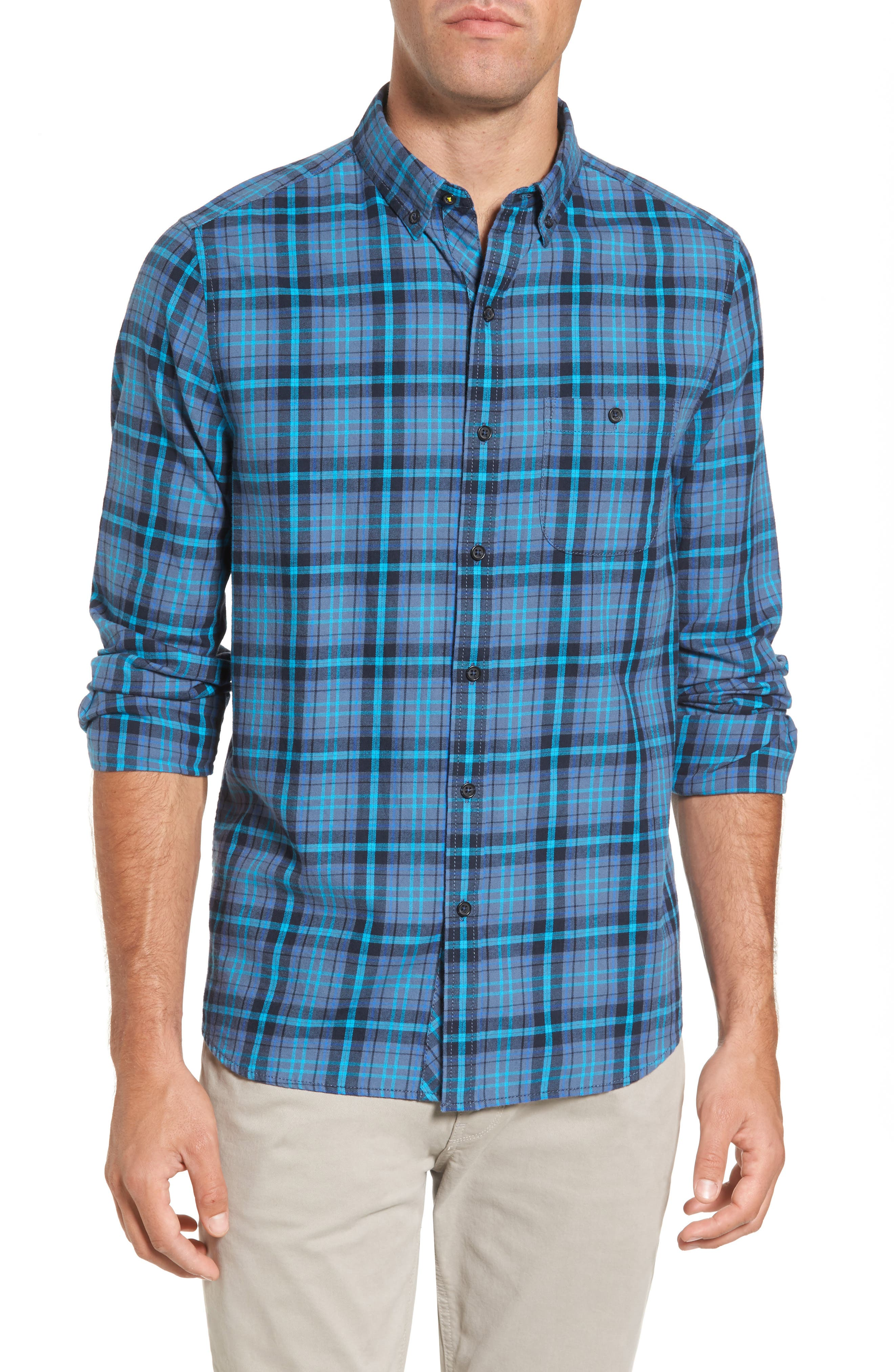 Trim Fit Plaid Flannel Sport Shirt,                         Main,                         color, Blue Ink
