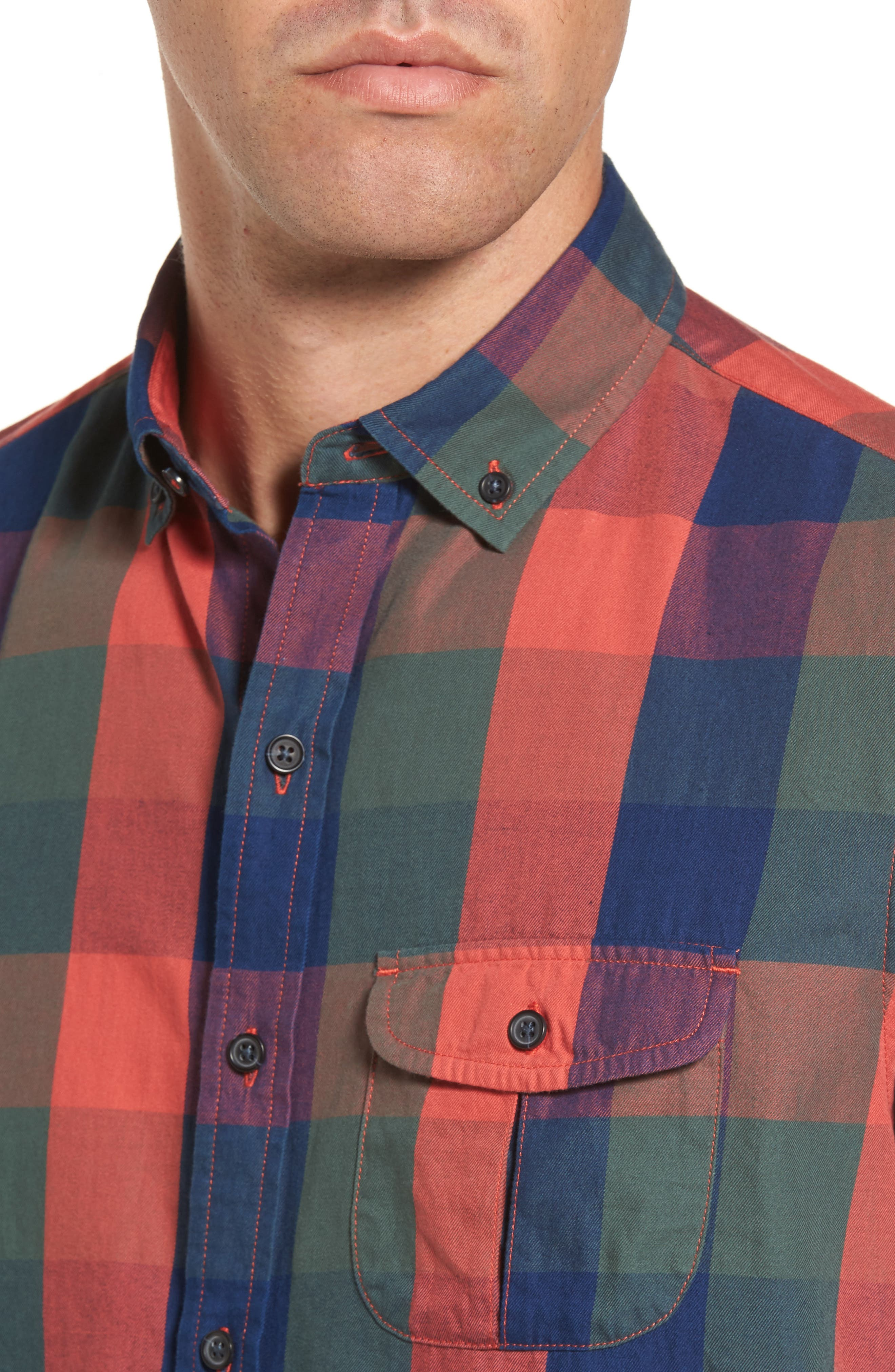 Trim Fit Plaid Sport Shirt,                             Alternate thumbnail 4, color,                             Indigo