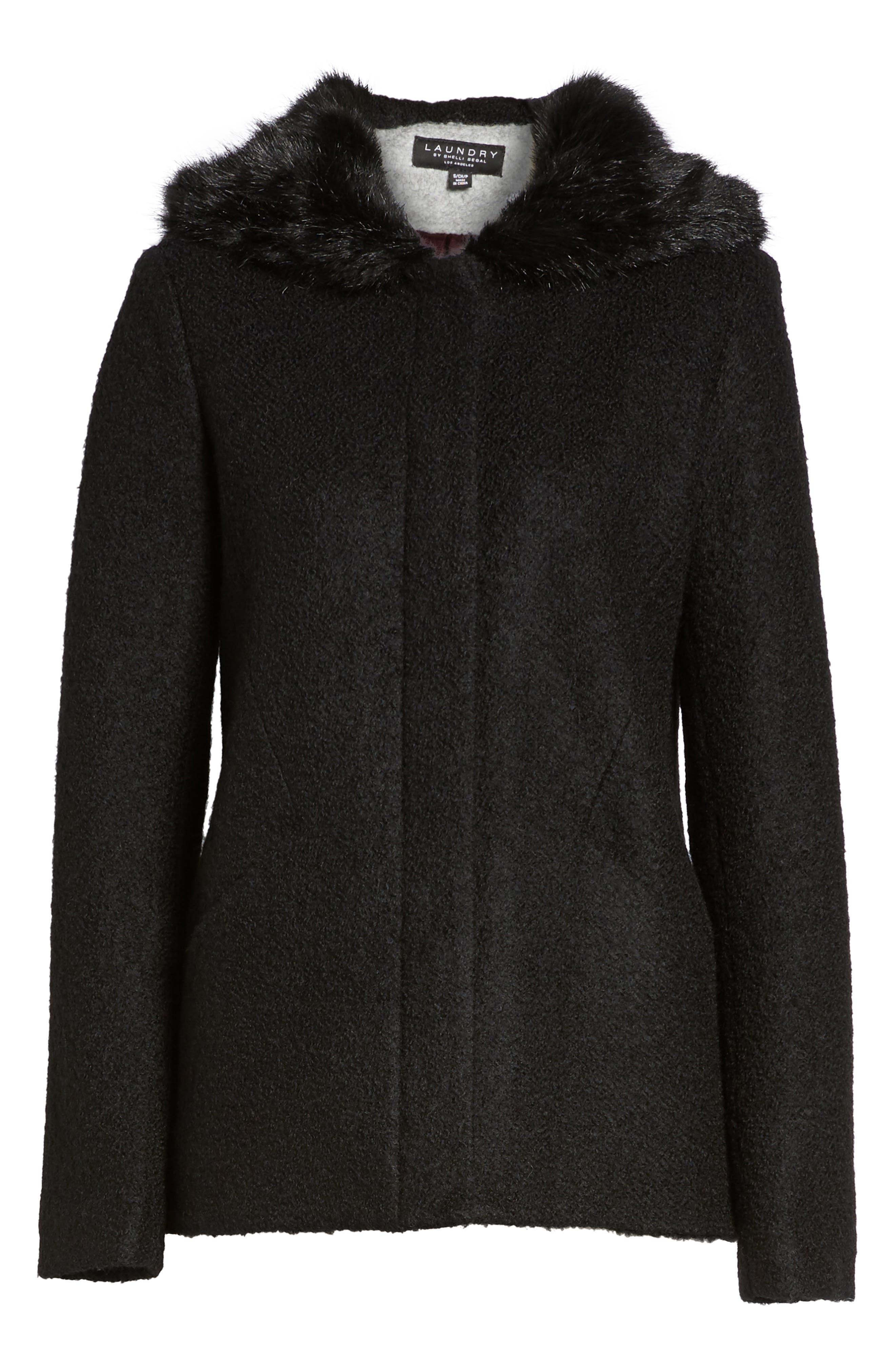 Hooded Wool Blend Bouclé Jacket with Faux Fur Trim,                             Alternate thumbnail 6, color,                             Black