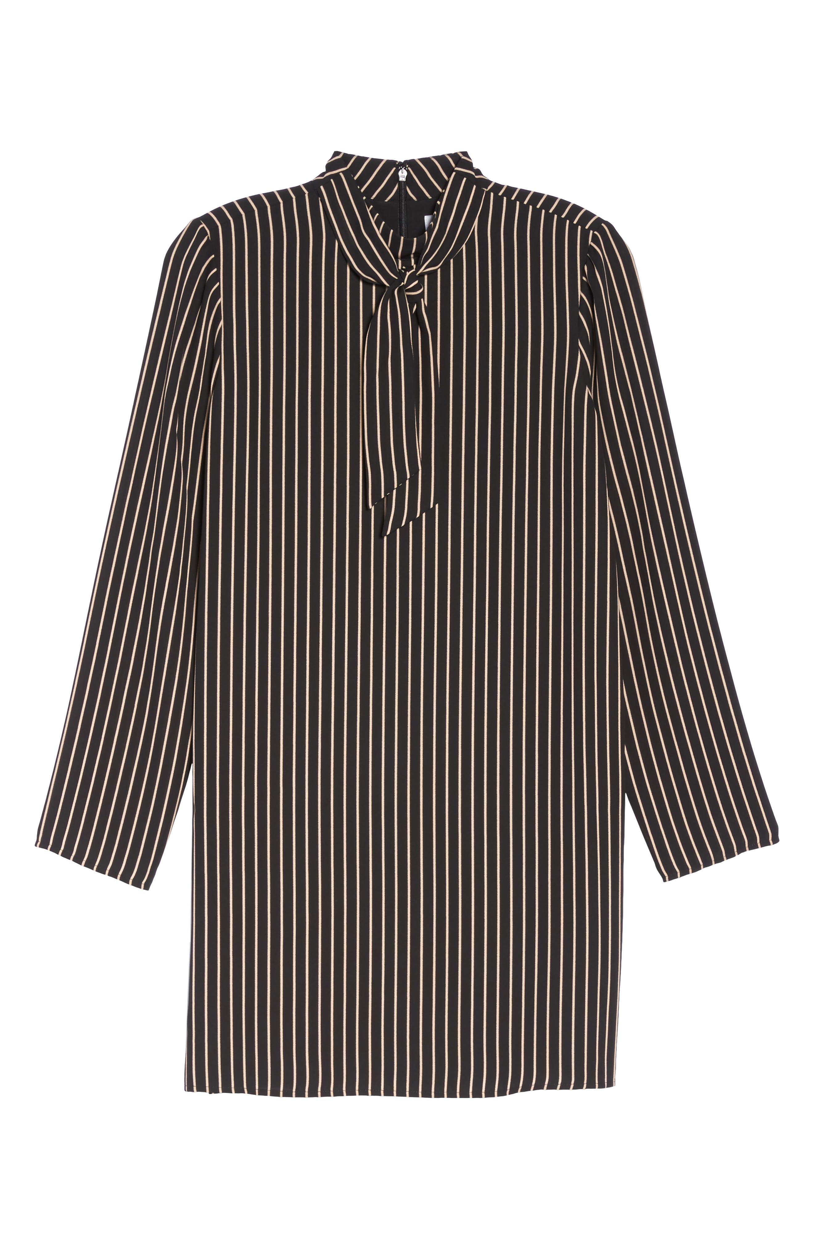 She-E-O Shift Dress,                             Alternate thumbnail 6, color,                             Black/ Tan Stripe