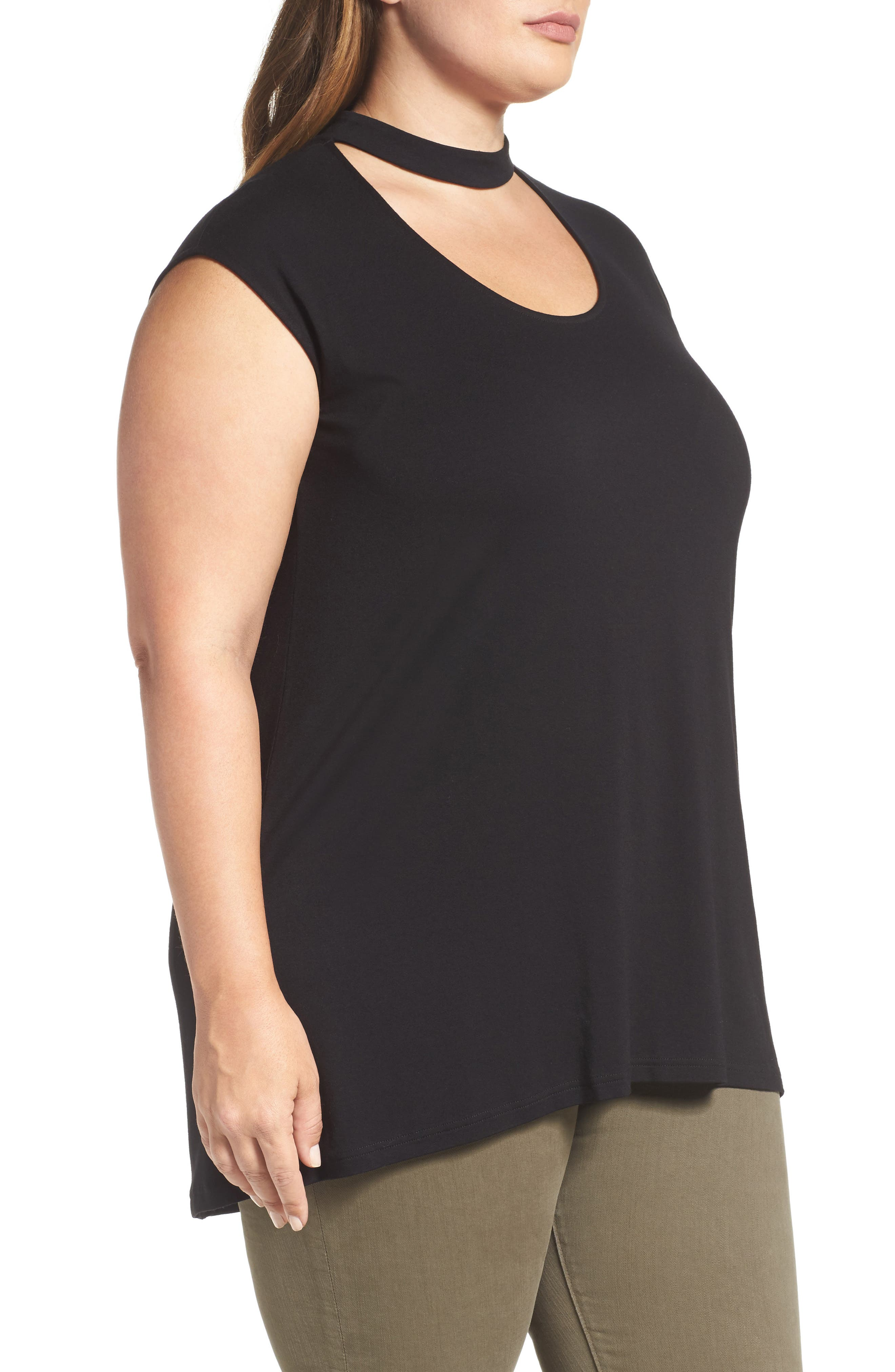 Alternate Image 3  - Vince Camuto Choker Neck High/Low Top (Plus Size)