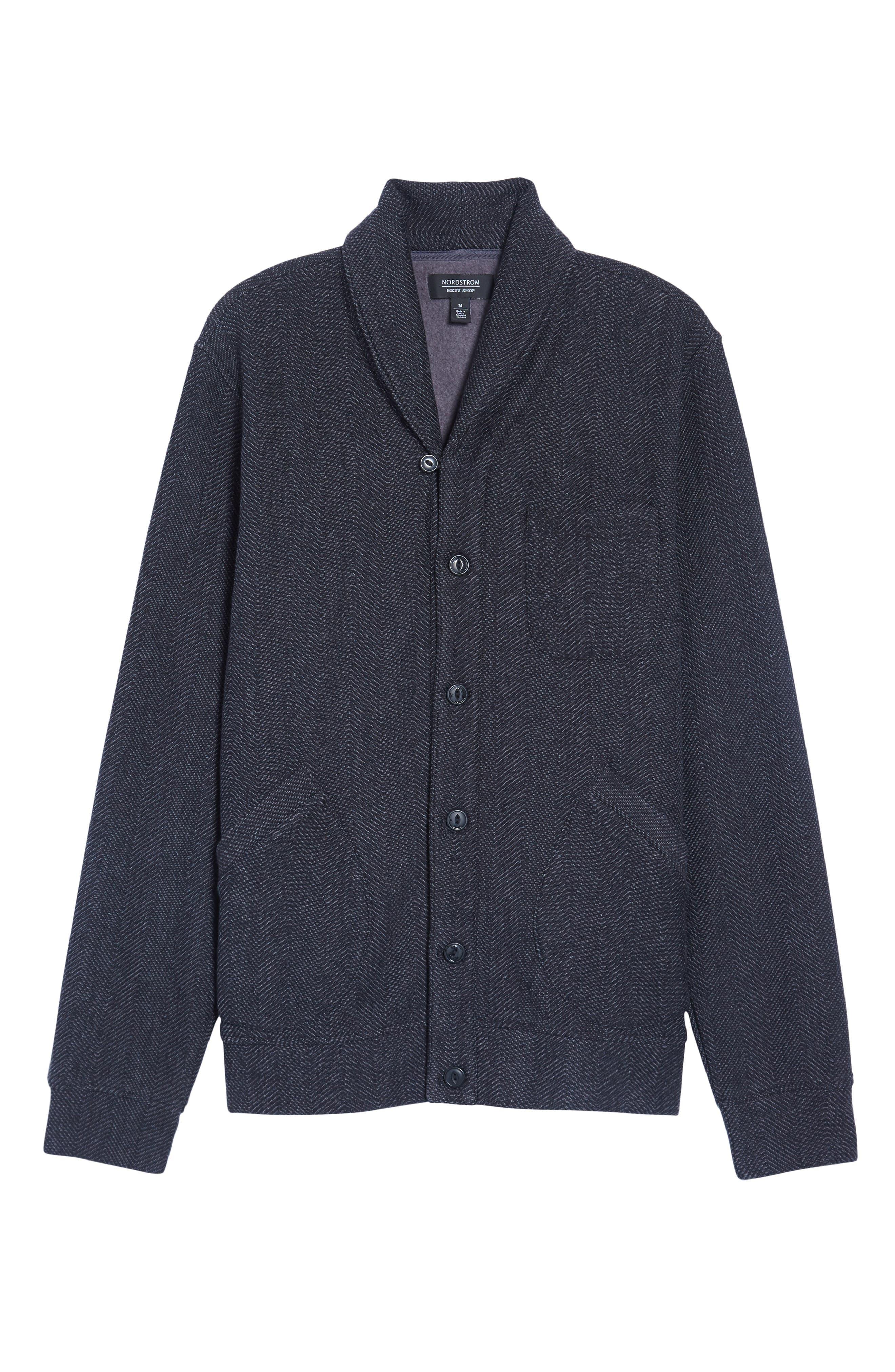 Fleece Lined Shawl Collar Cardigan,                             Alternate thumbnail 6, color,                             Grey Phantom Herringbone