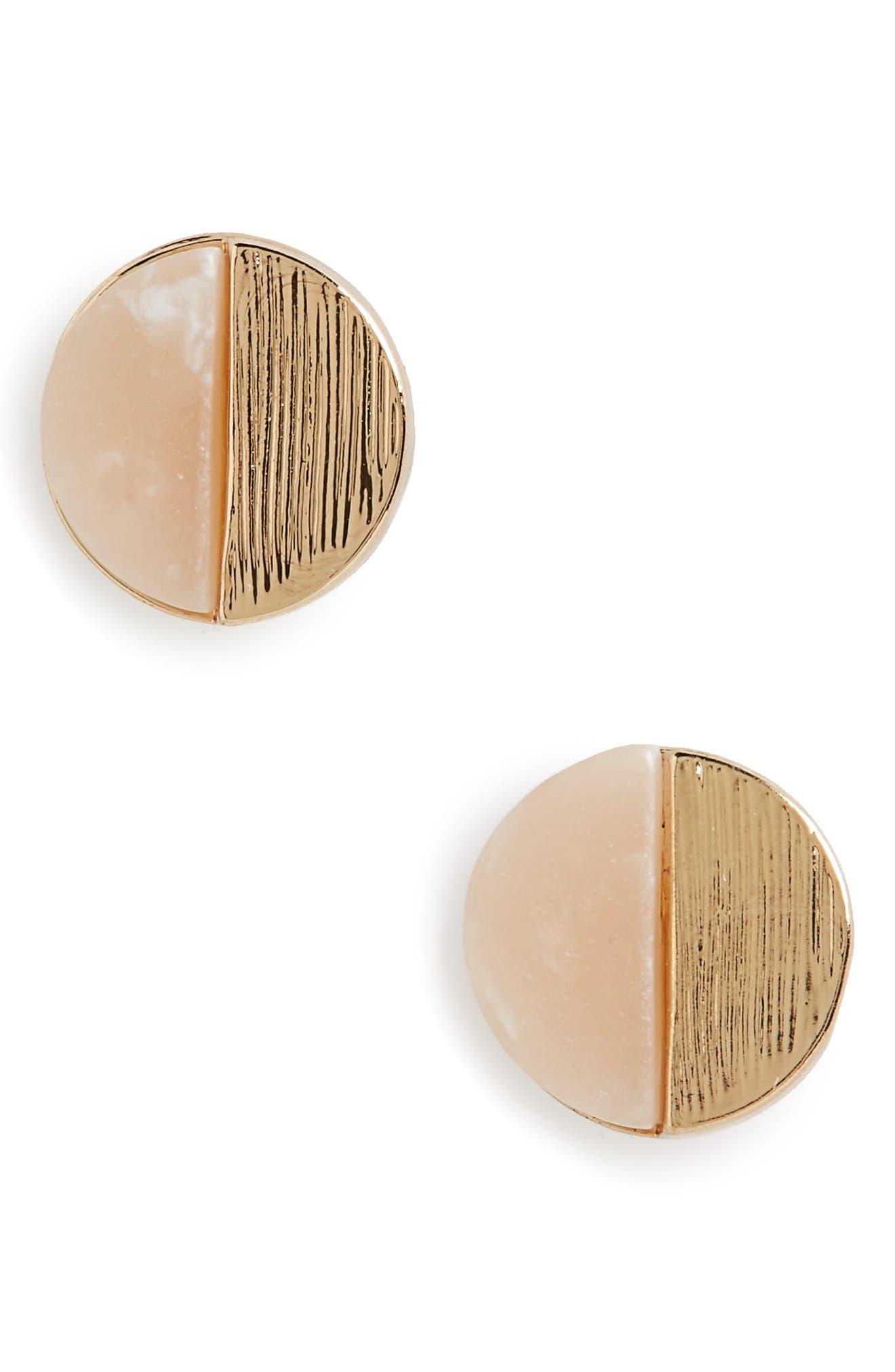 Circle Stud Earrings,                         Main,                         color, Gold