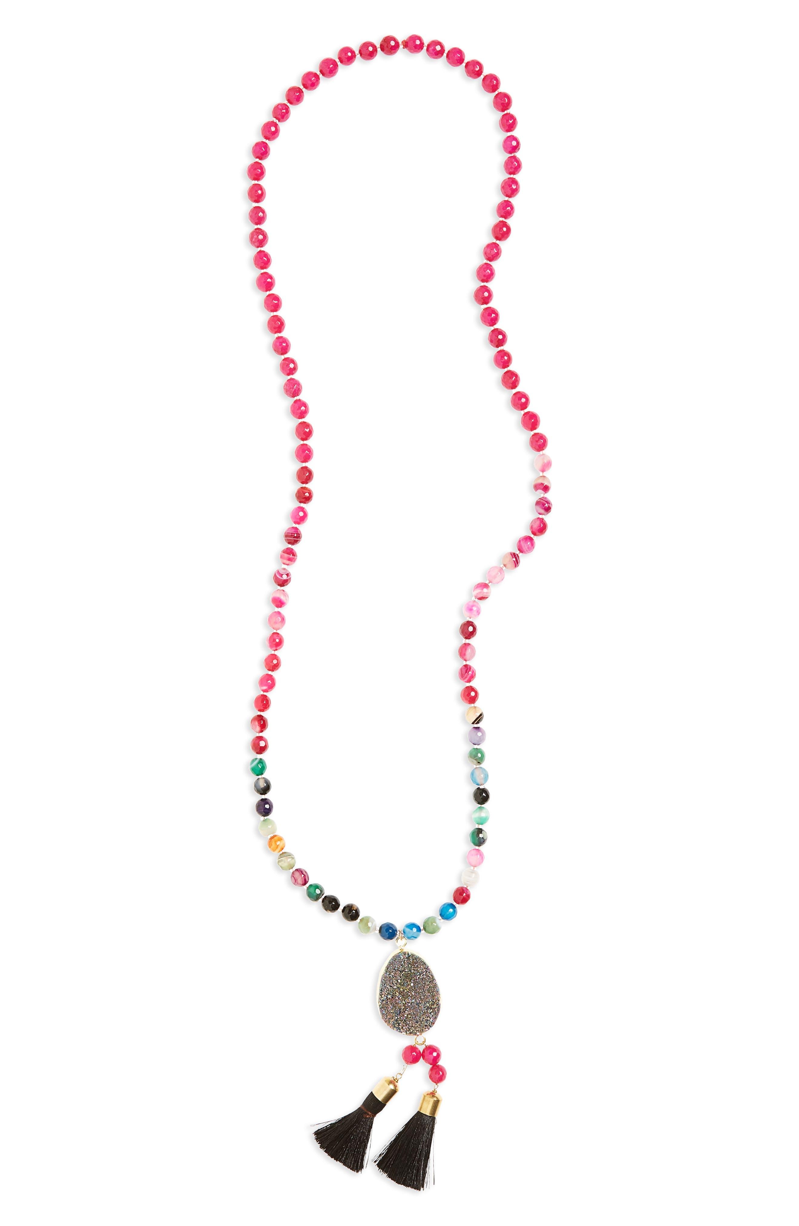 Drusy Tassel Pendant Necklace,                         Main,                         color, Multi/ Berry