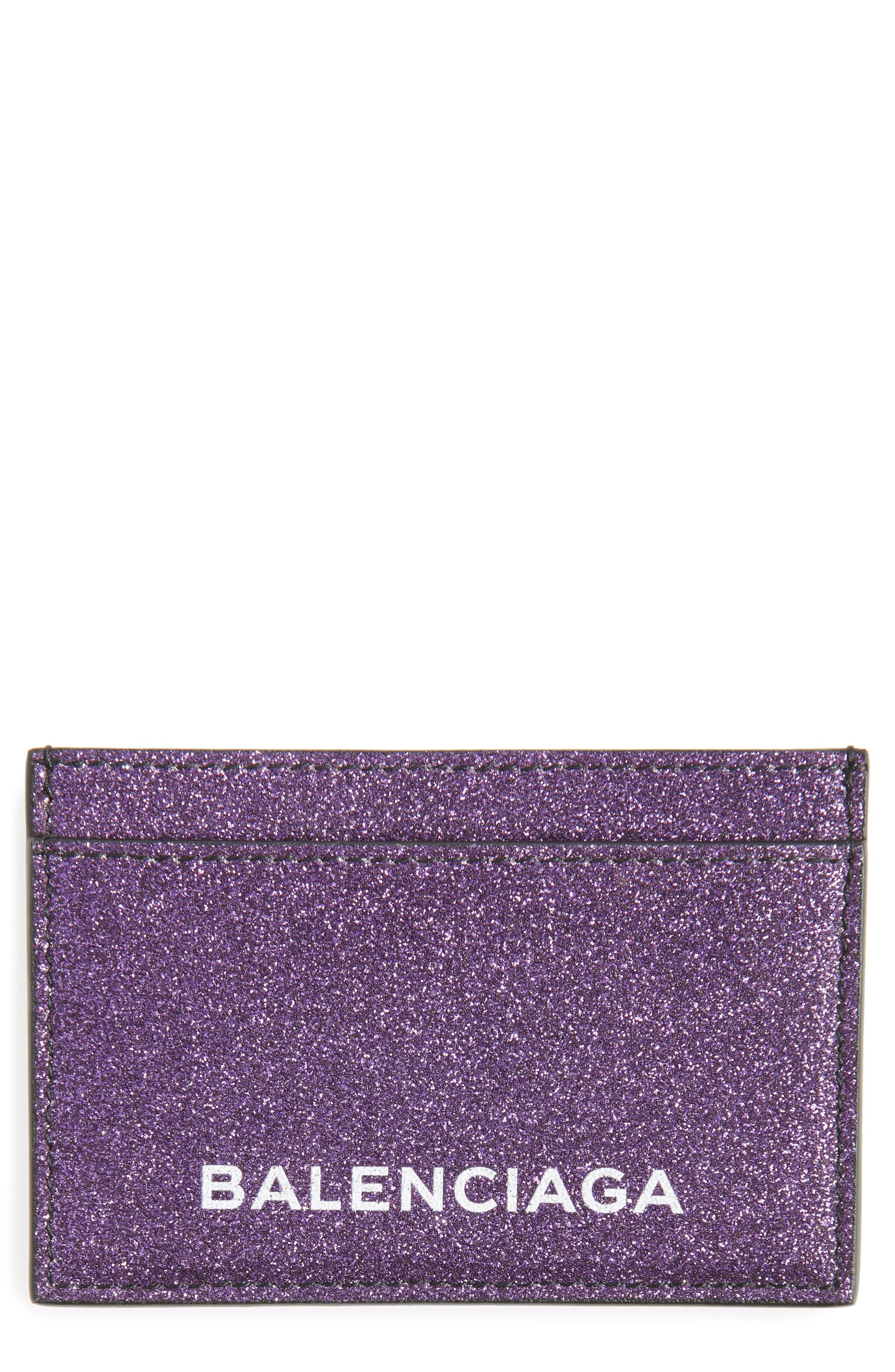 Alternate Image 1 Selected - Balenciaga Essential Sparkle Logo Card Case