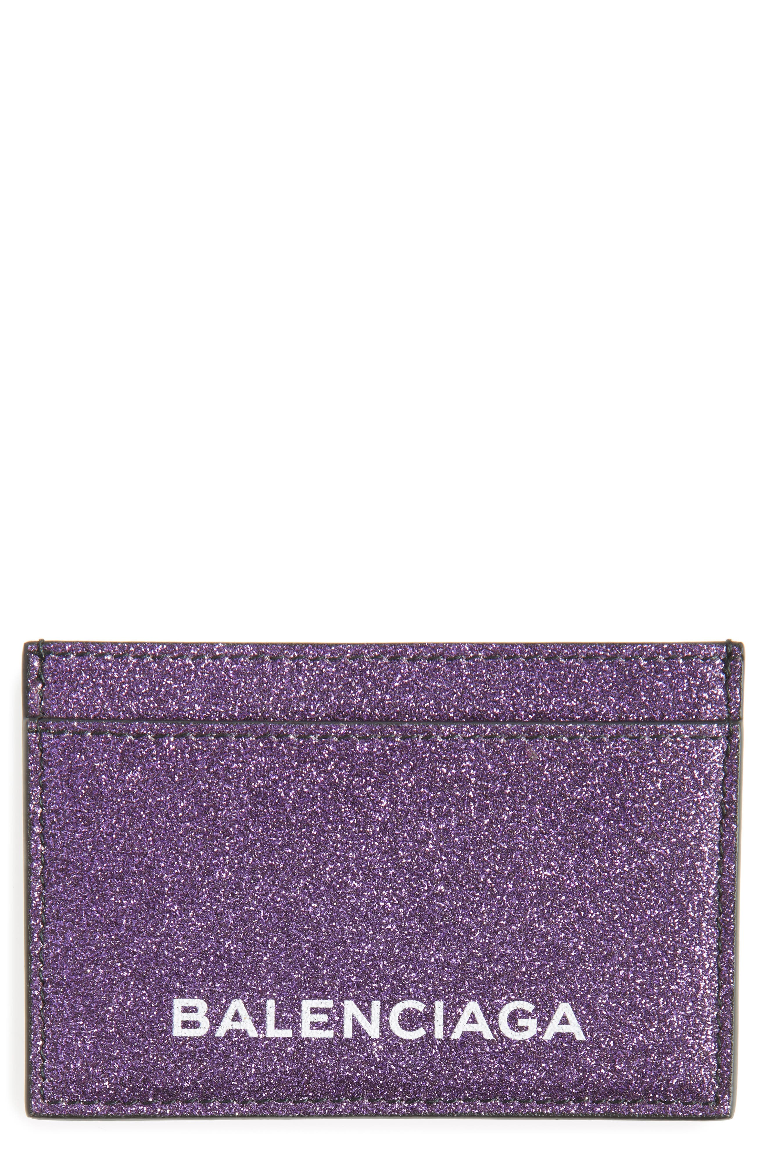 Main Image - Balenciaga Essential Sparkle Logo Card Case