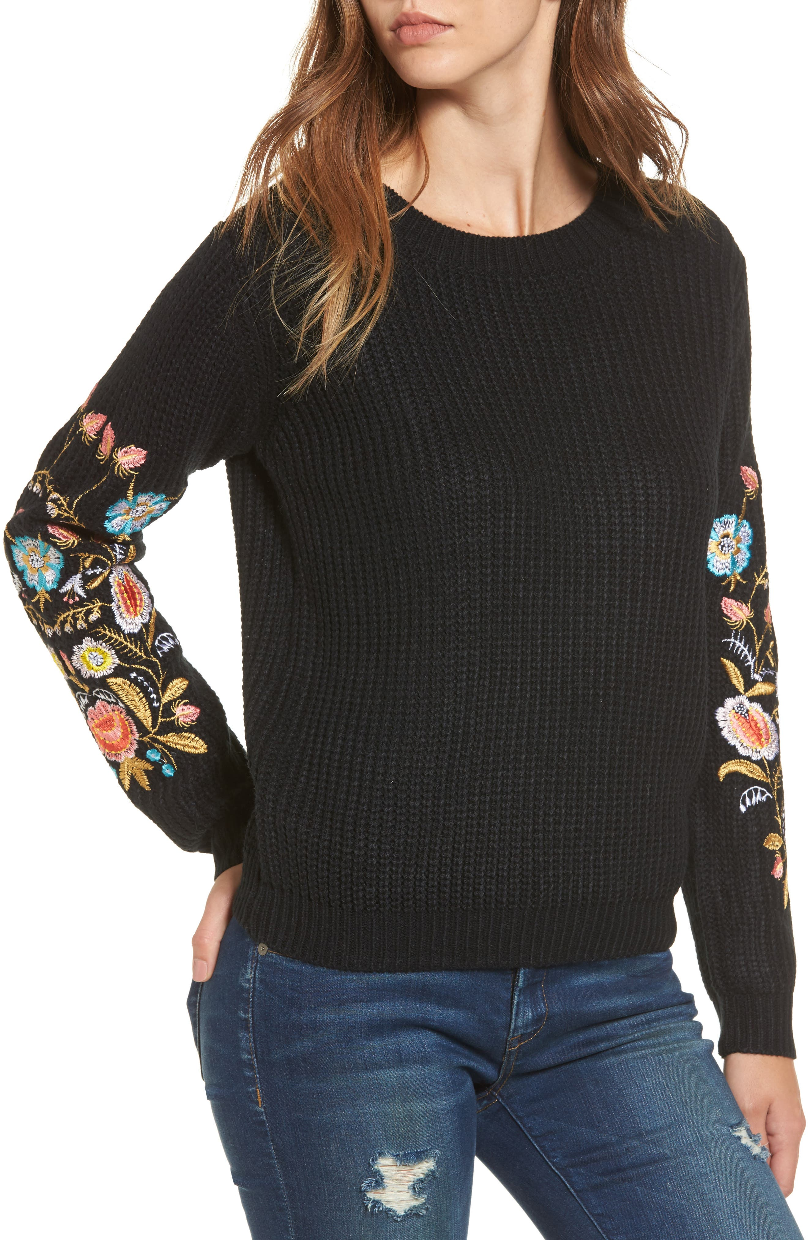 Embroidered Waffle Stitch Sweater,                             Main thumbnail 1, color,                             Black
