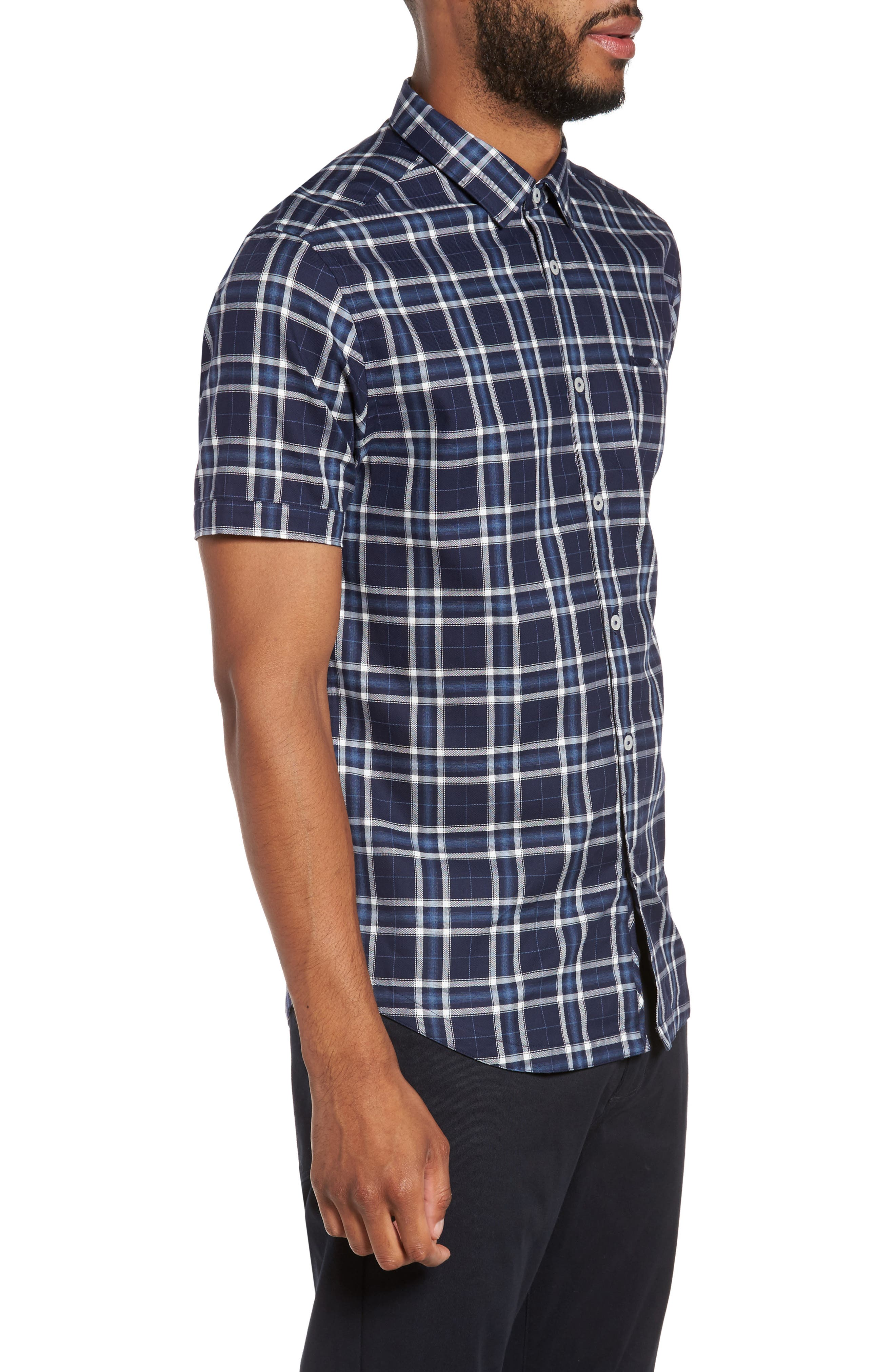 Slim Fit Plaid Sport Shirt,                             Alternate thumbnail 3, color,                             Navy
