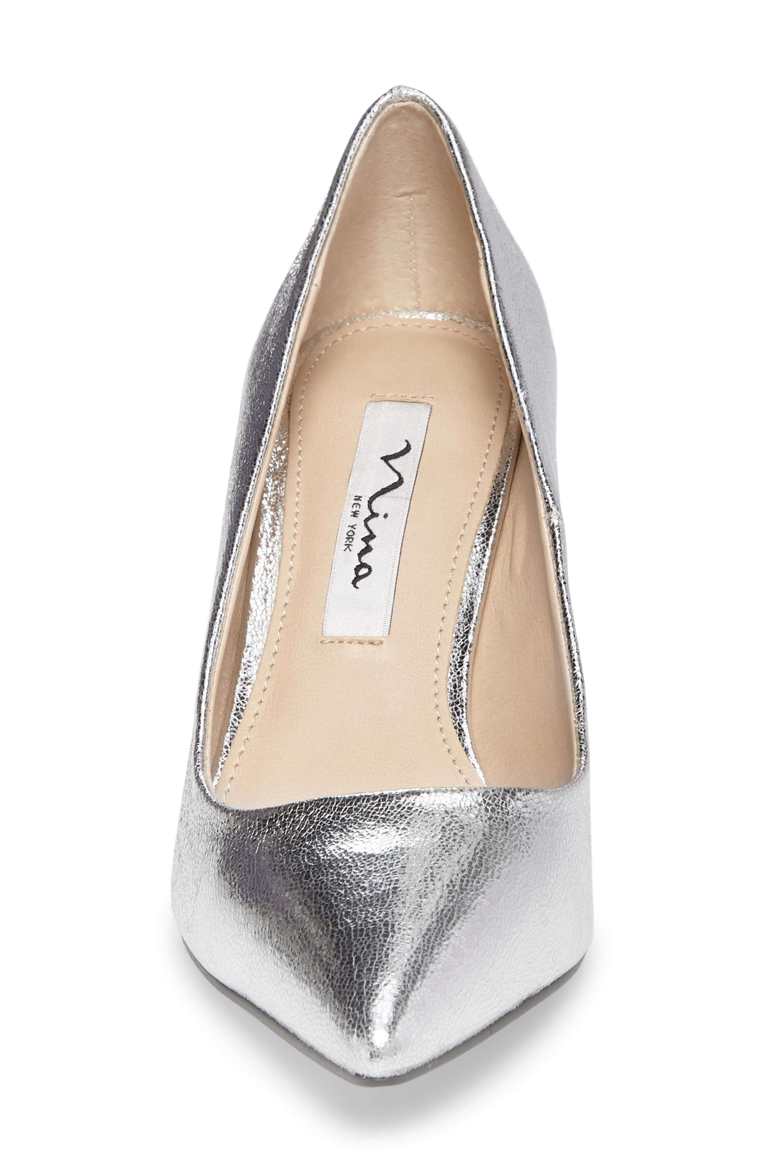 Tinsley Pointy Toe Pump,                             Alternate thumbnail 4, color,                             Silver Fabric