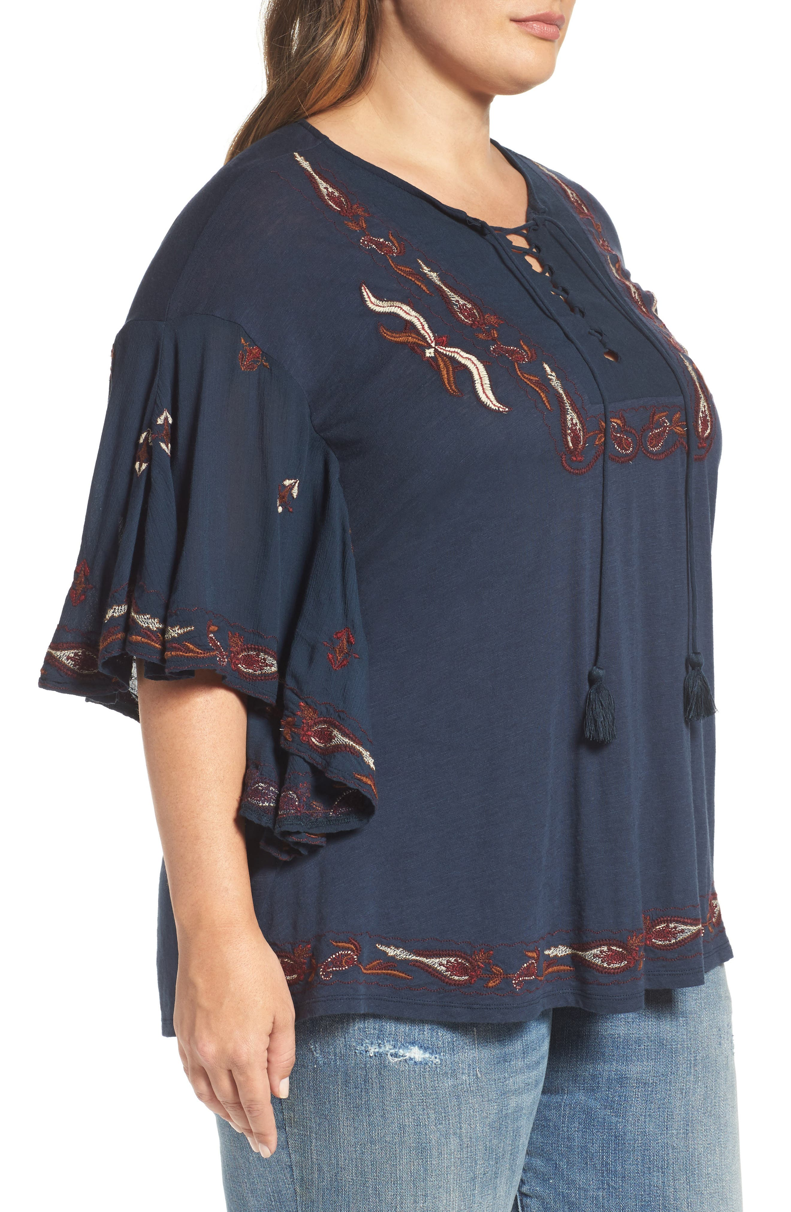 Lace Up Embroidered Peasant Top,                             Alternate thumbnail 3, color,                             Blueberry