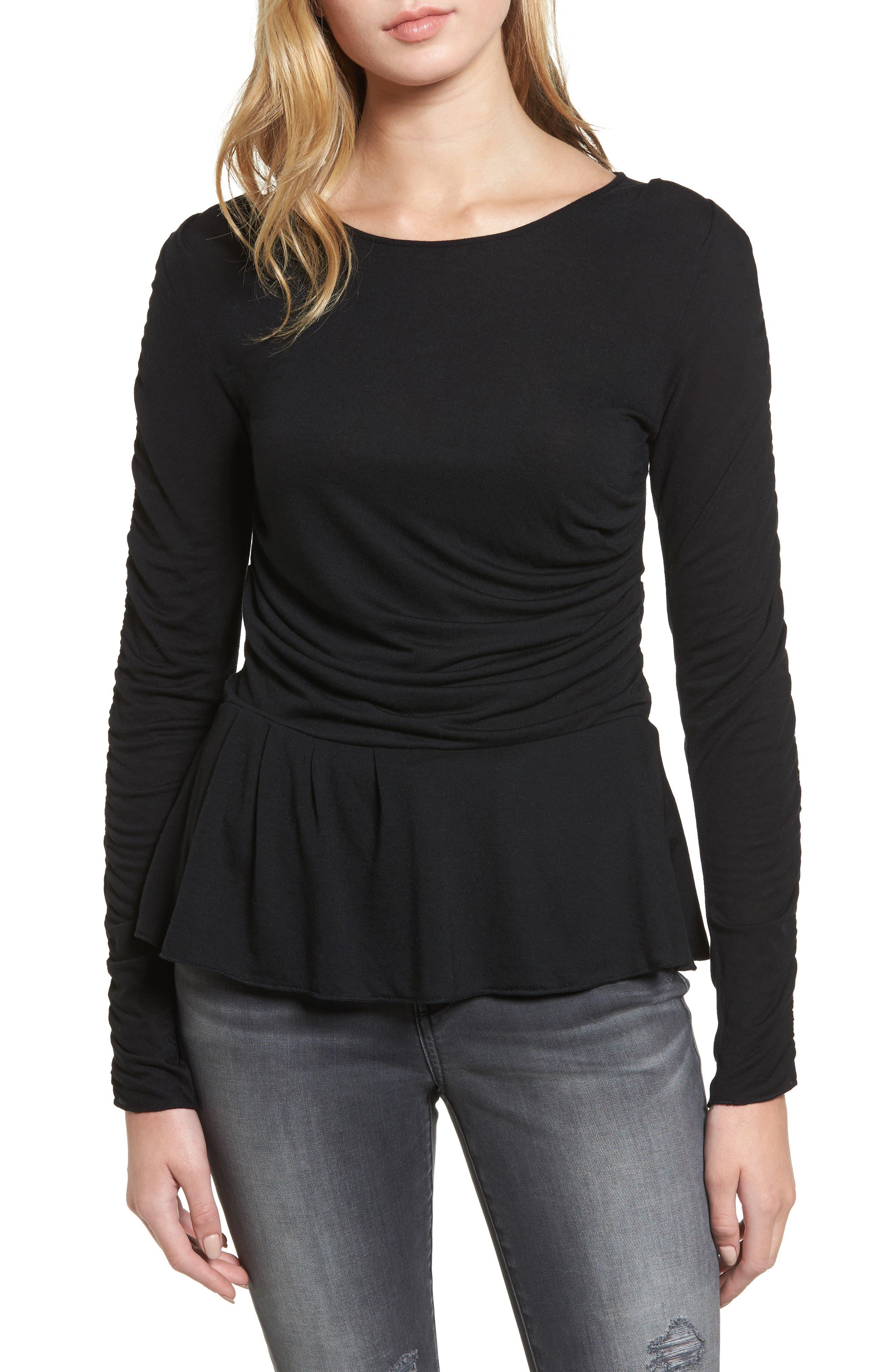 Draped Jersey Top,                         Main,                         color, Black
