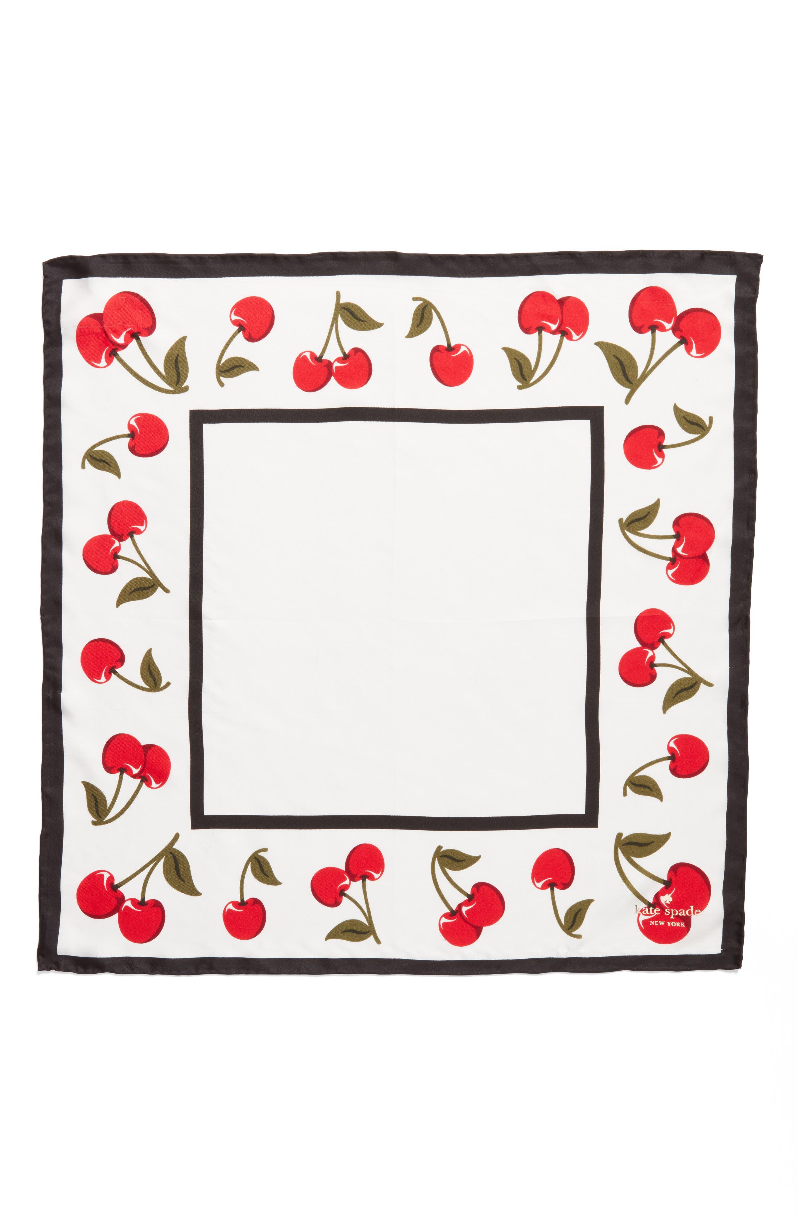 cherry silk bandana,                             Alternate thumbnail 2, color,                             Cream