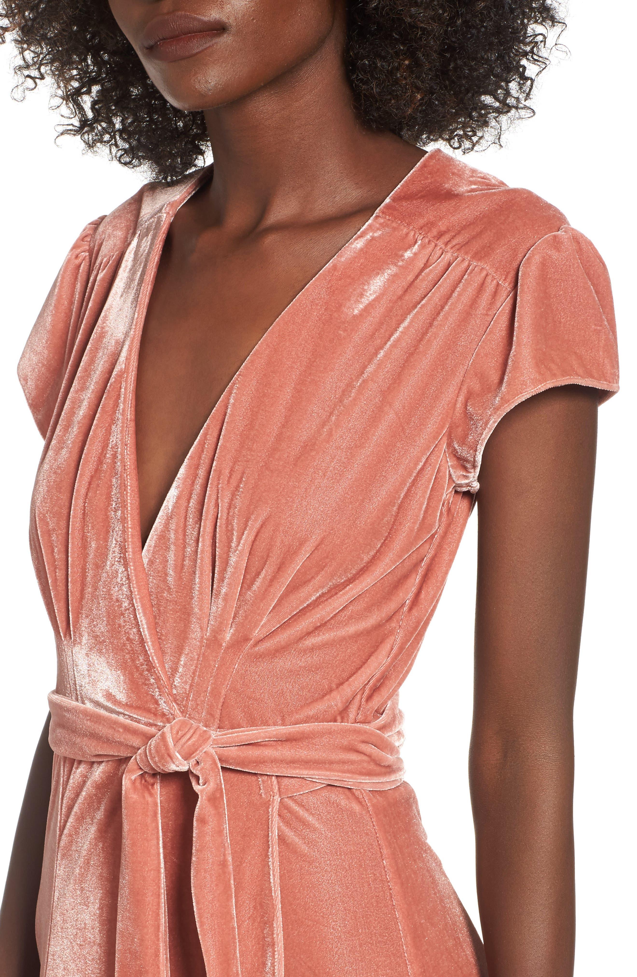 Sid Velvet Wrap Maxi Dress,                             Alternate thumbnail 4, color,                             Wild Rose