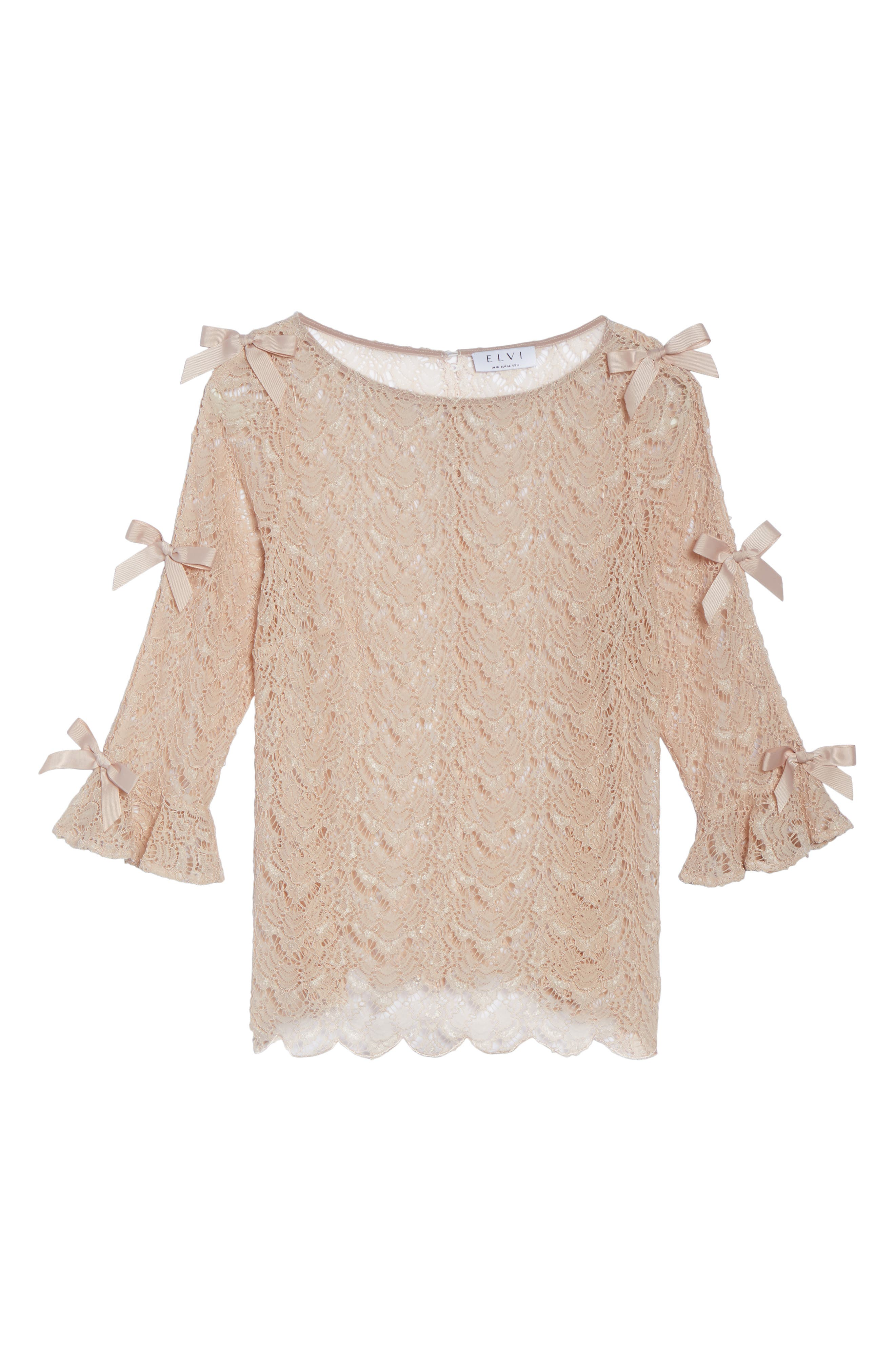Bow Sleeve Lace Top,                             Alternate thumbnail 6, color,                             Nude