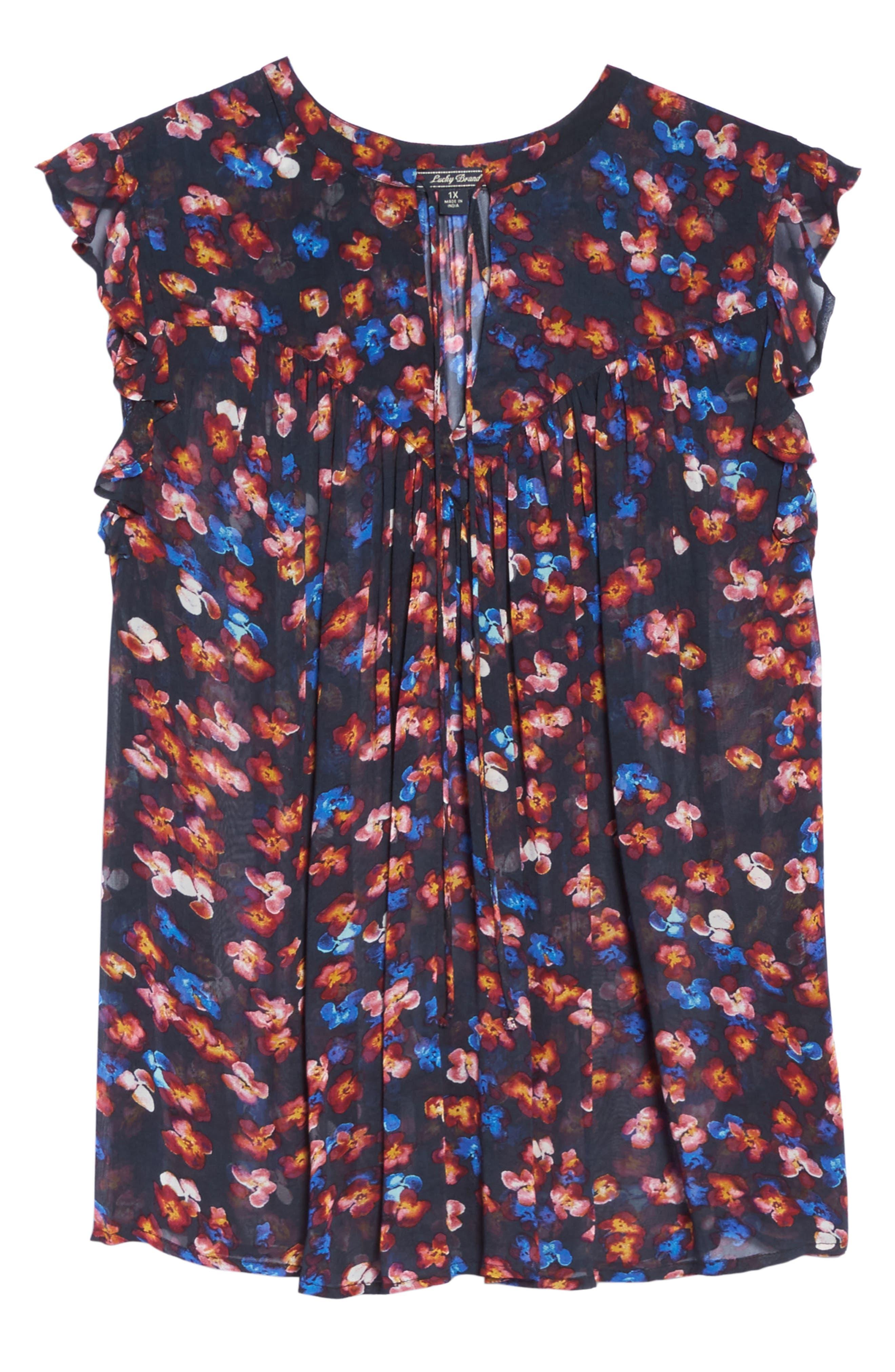 Ruffle Floral Chiffon Top,                             Alternate thumbnail 5, color,                             Black Multi