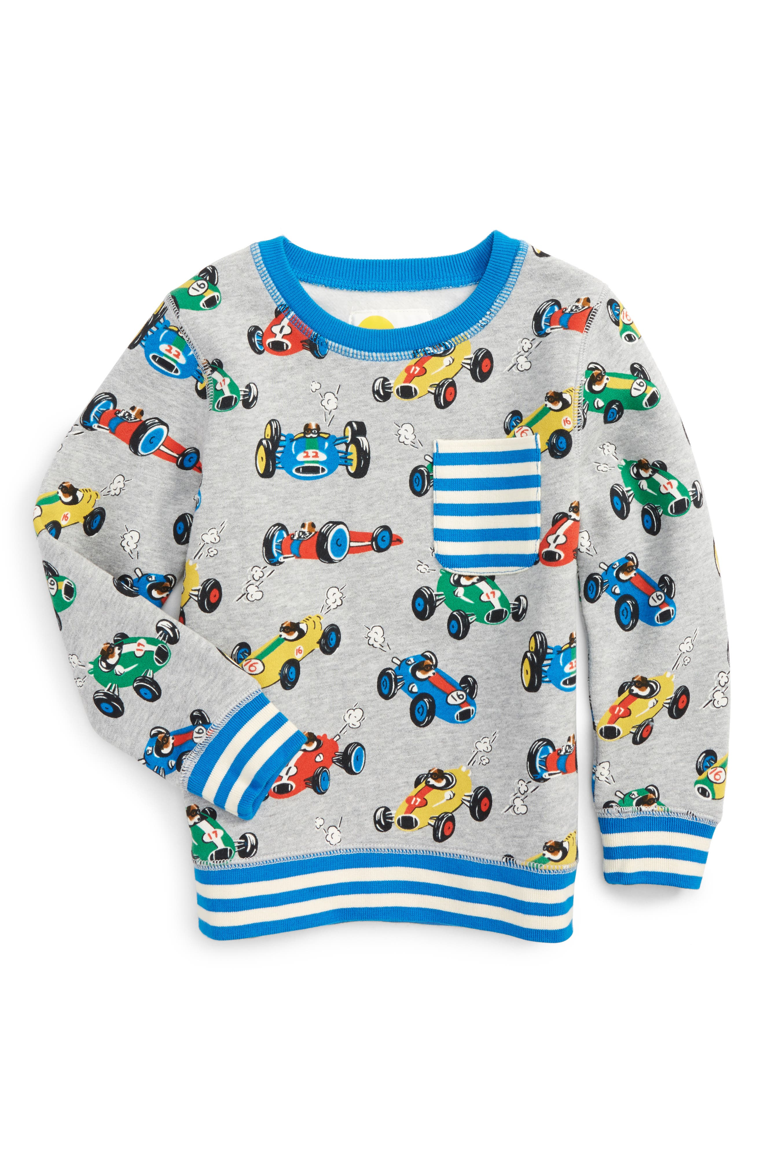 Alternate Image 1 Selected - Mini Boden Fun Print Sweatshirt (Toddler Boys, Little Boys & Big Boys)
