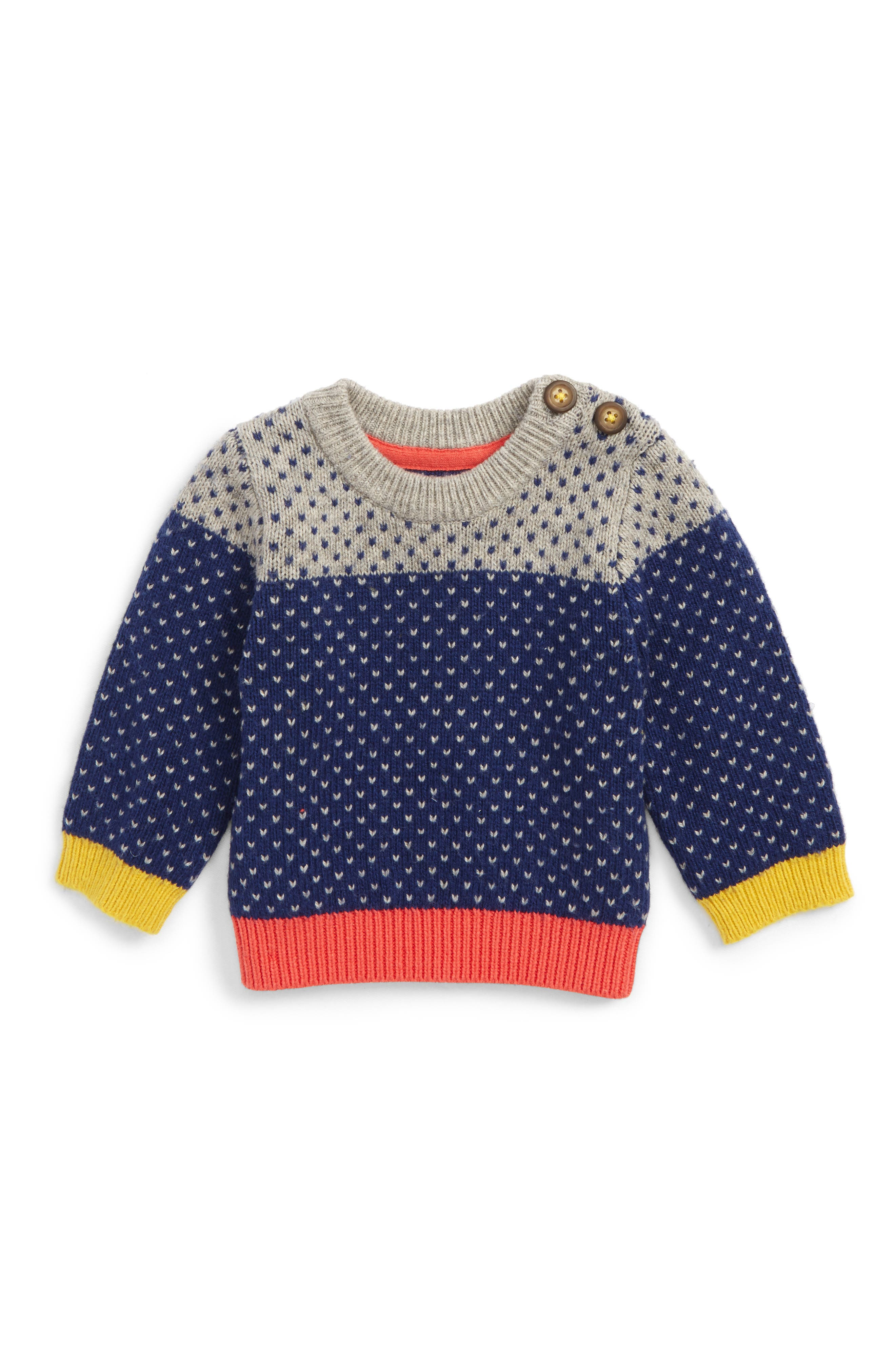 Main Image - Boden Colorblock Sweater (Baby Boys & Toddler Boys)