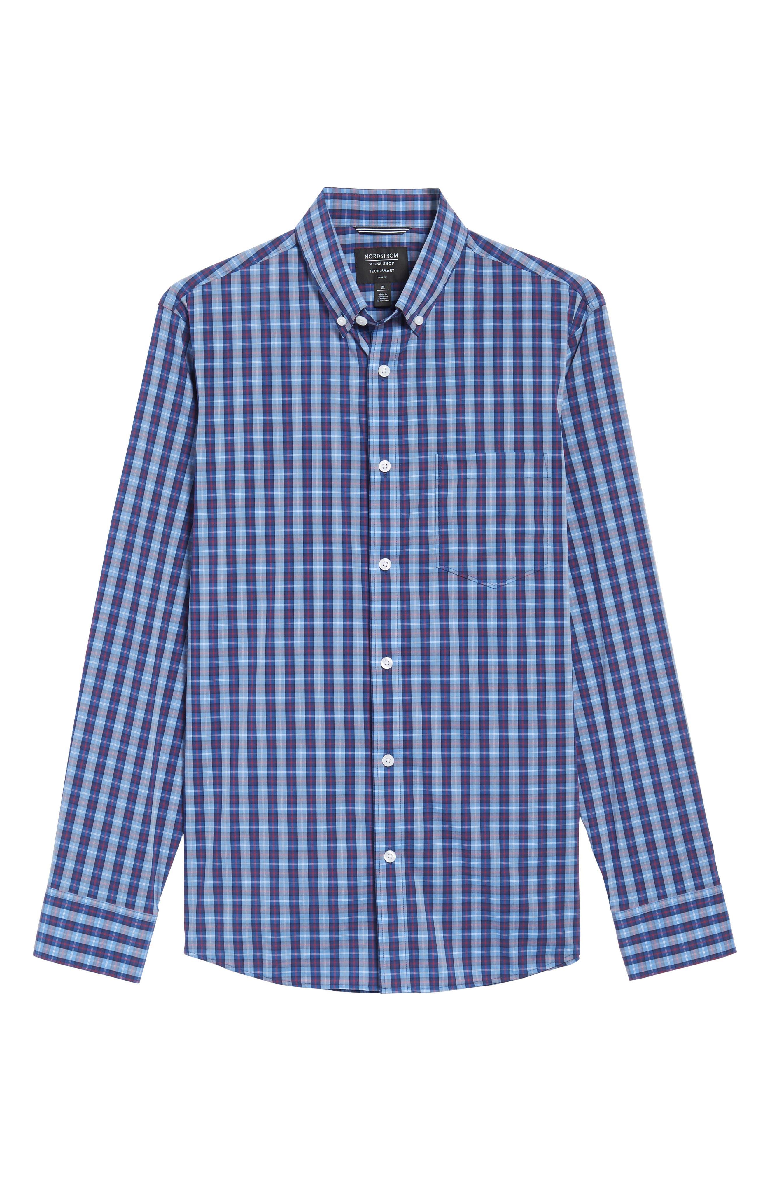 Trim Fit Tech-Smart Plaid Sport Shirt,                             Alternate thumbnail 6, color,                             Blue Hydrangea Navy Plaid