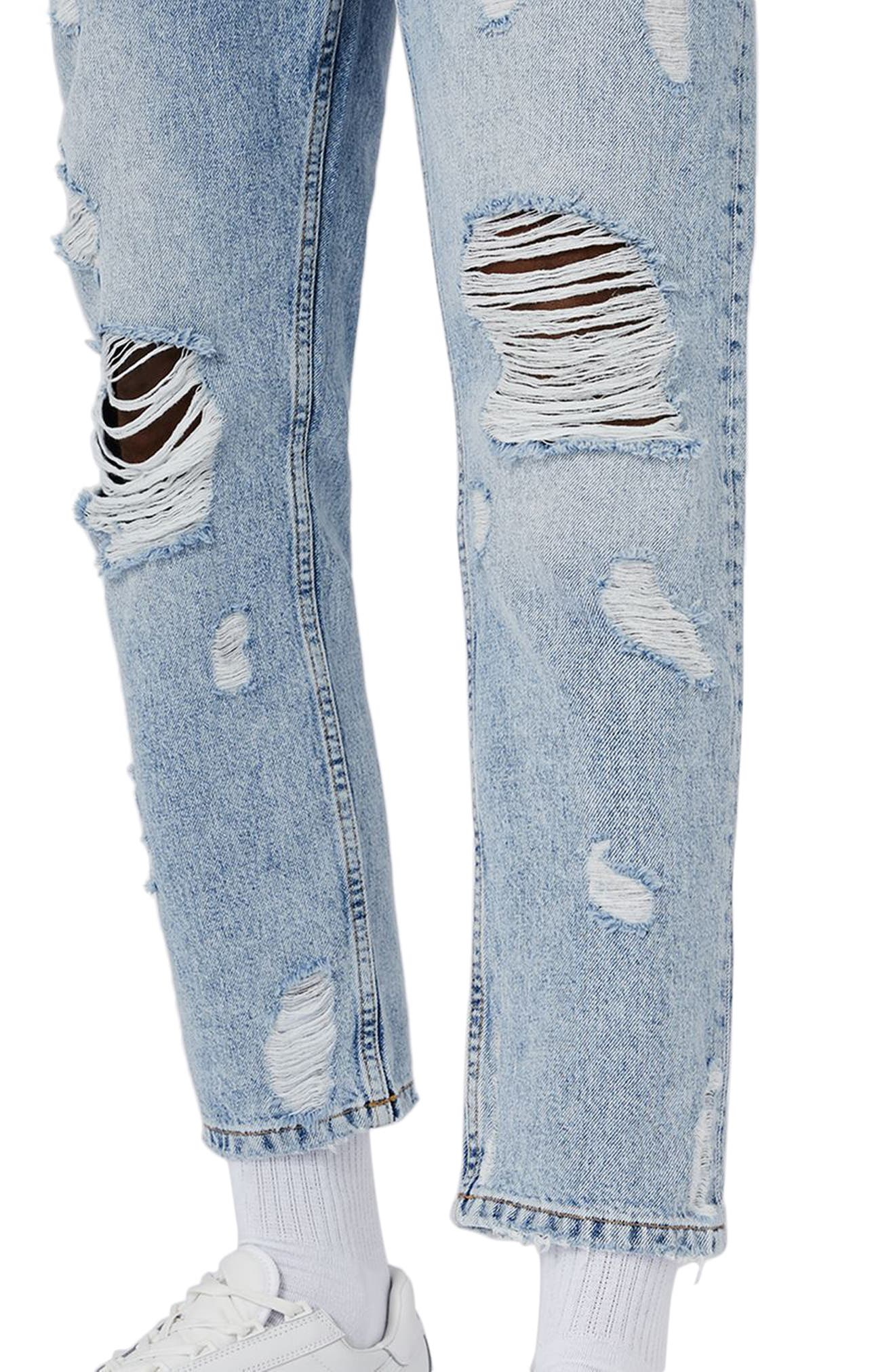 Topshop Extreme Rip Tapered Jeans,                             Alternate thumbnail 3, color,                             Light Blue