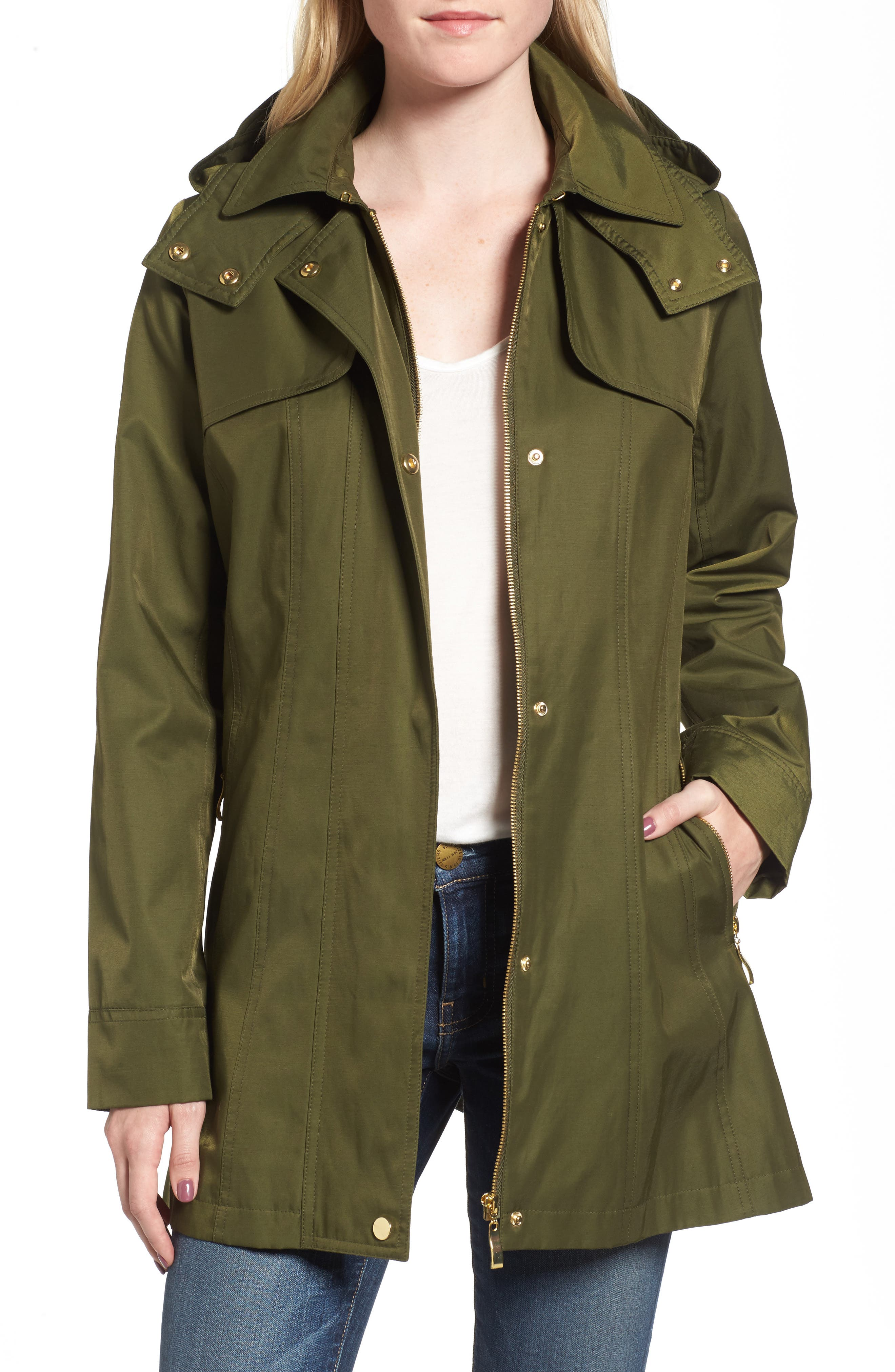 Fit & Flare Anorak Jacket,                             Main thumbnail 1, color,                             Olive