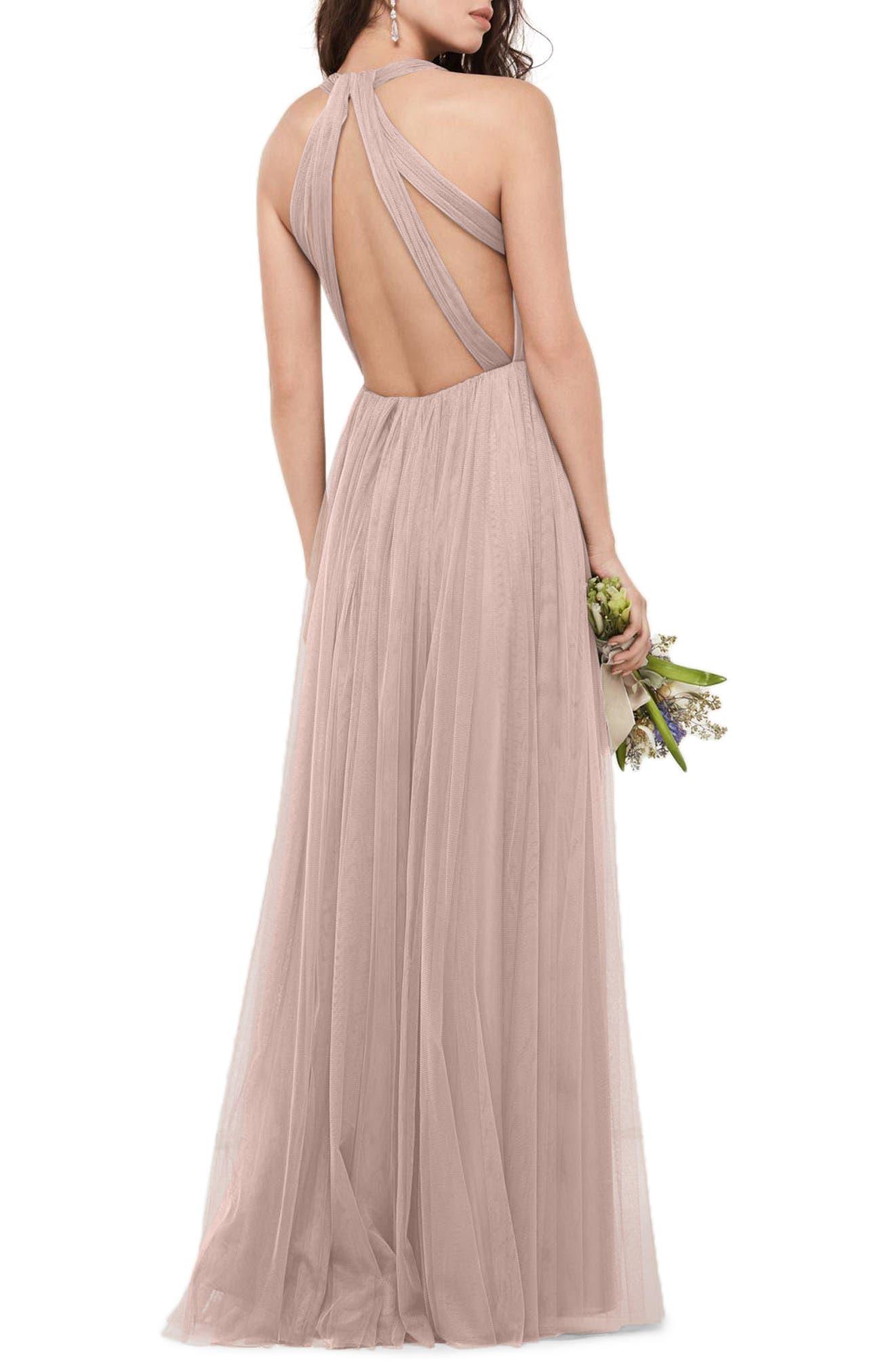 Alternate Image 2  - WTOO Bobbinet Halter Gown