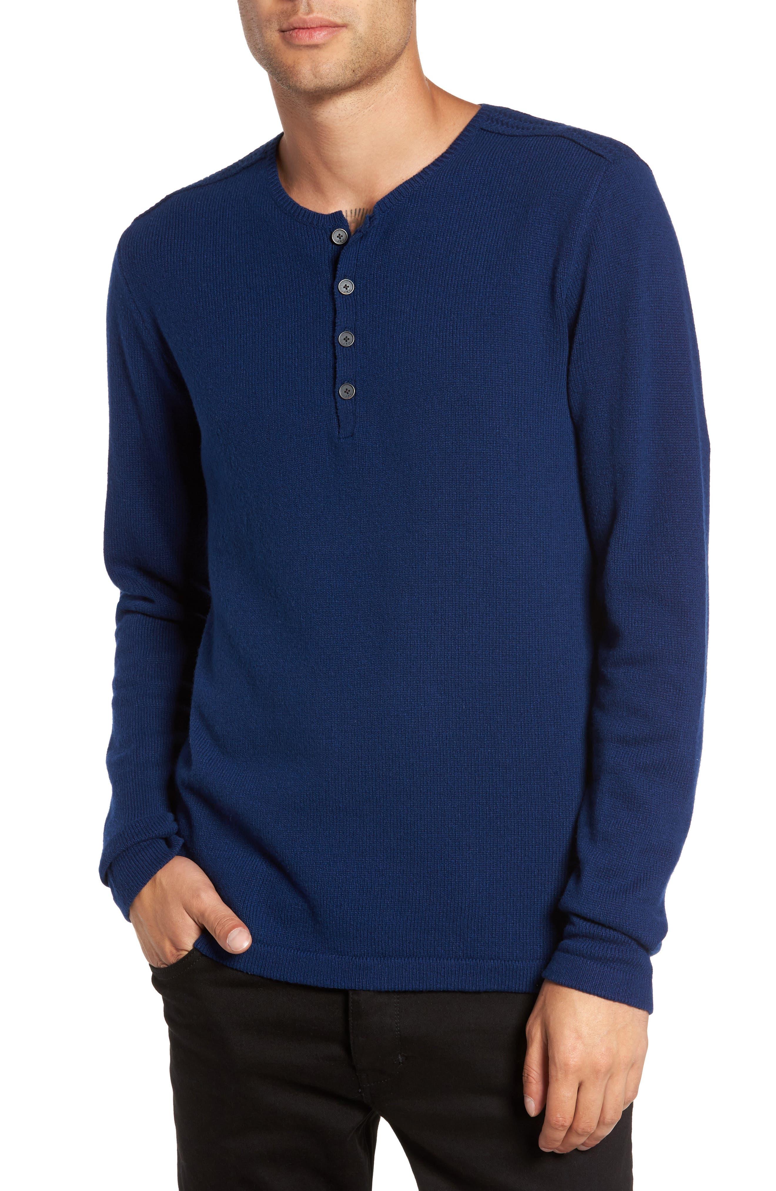 Henley Sweater,                         Main,                         color, Atlantic Blue