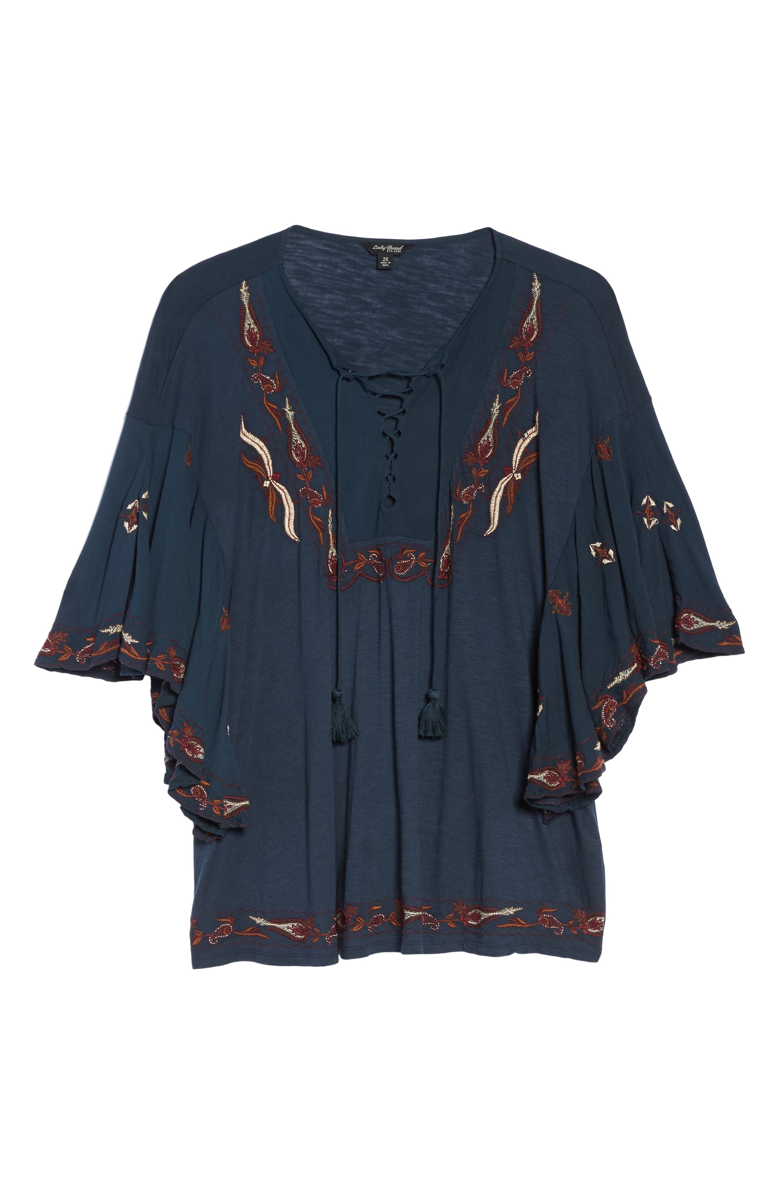 Alternate Image 6  - Lucky Brand Lace Up Embroidered Peasant Top (Plus Size)