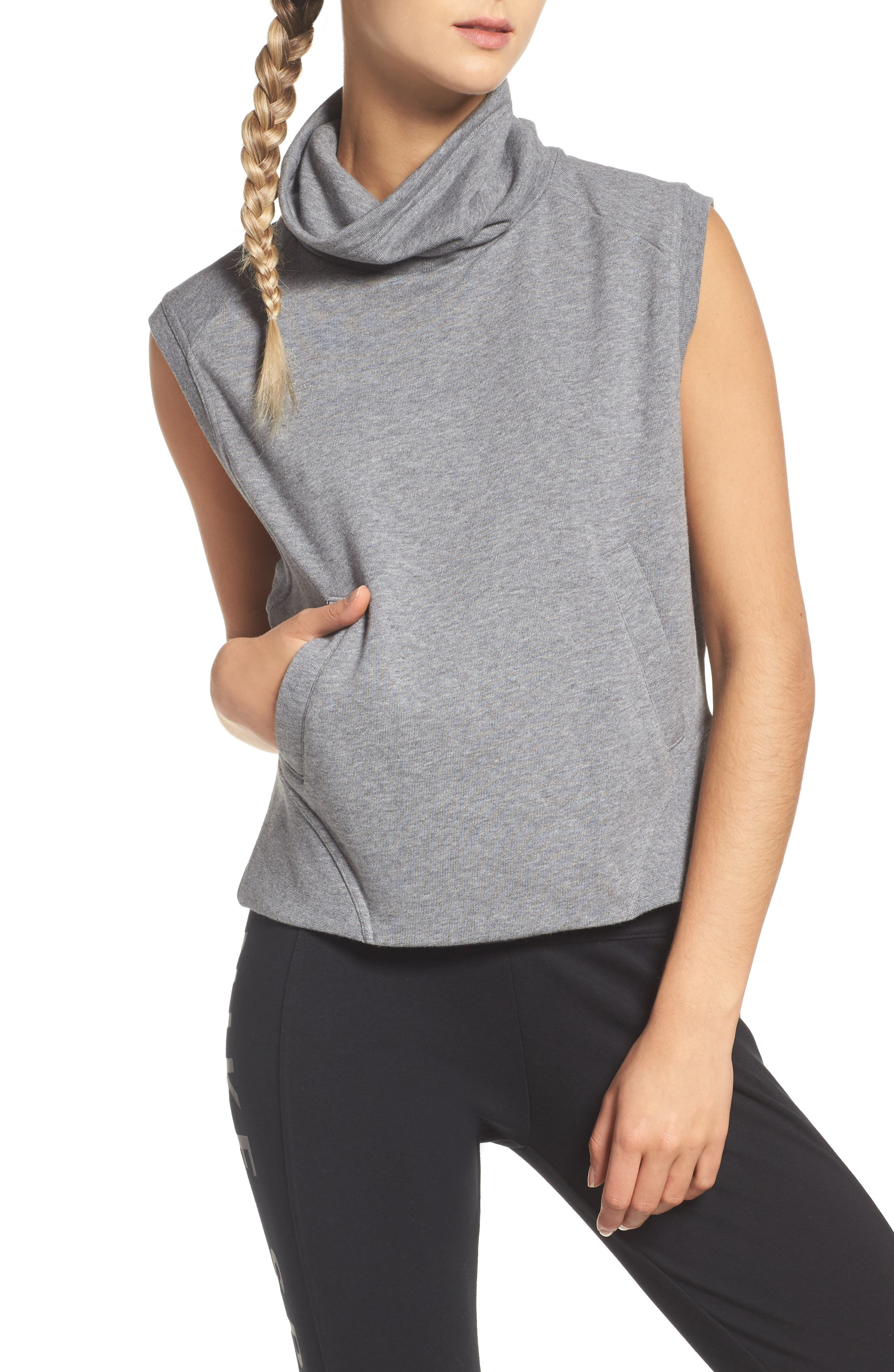 Funnel Neck Vest,                             Main thumbnail 1, color,                             Carbon Heather/ Black