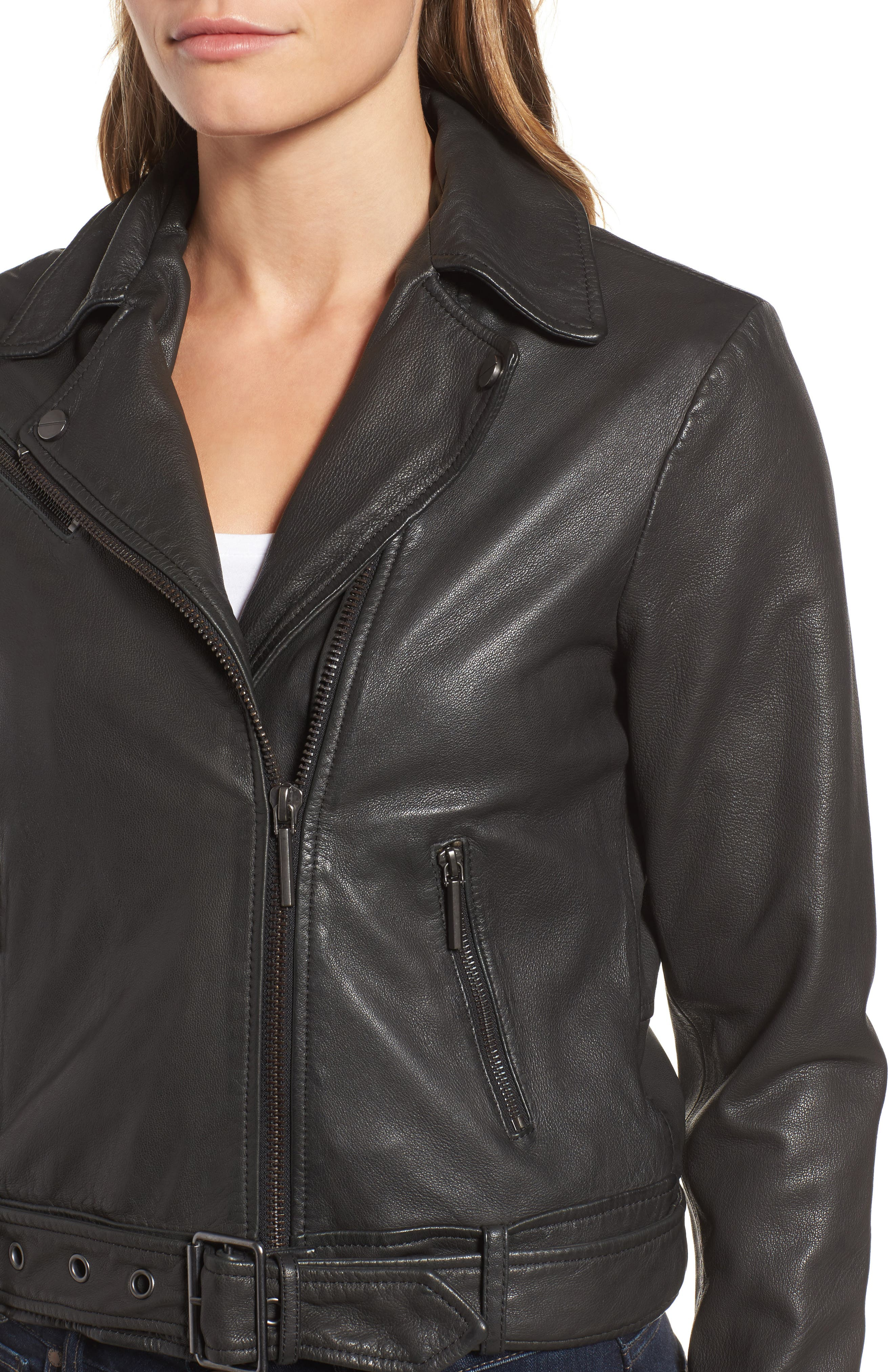 Alternate Image 4  - Kenneth Cole New York Leather Moto Jacket