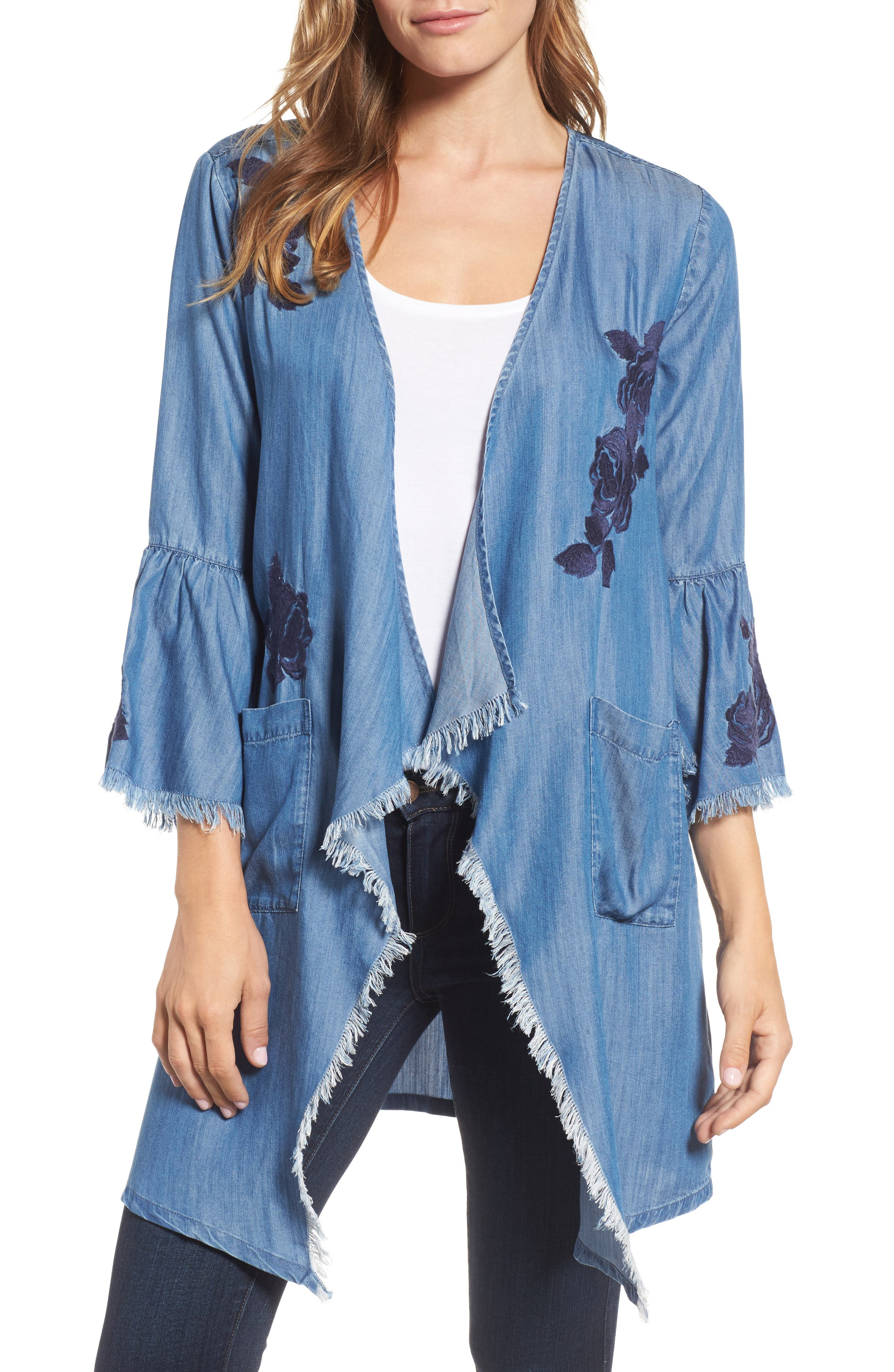 Billy T Embroidered Drape Front Chambray Cardigan