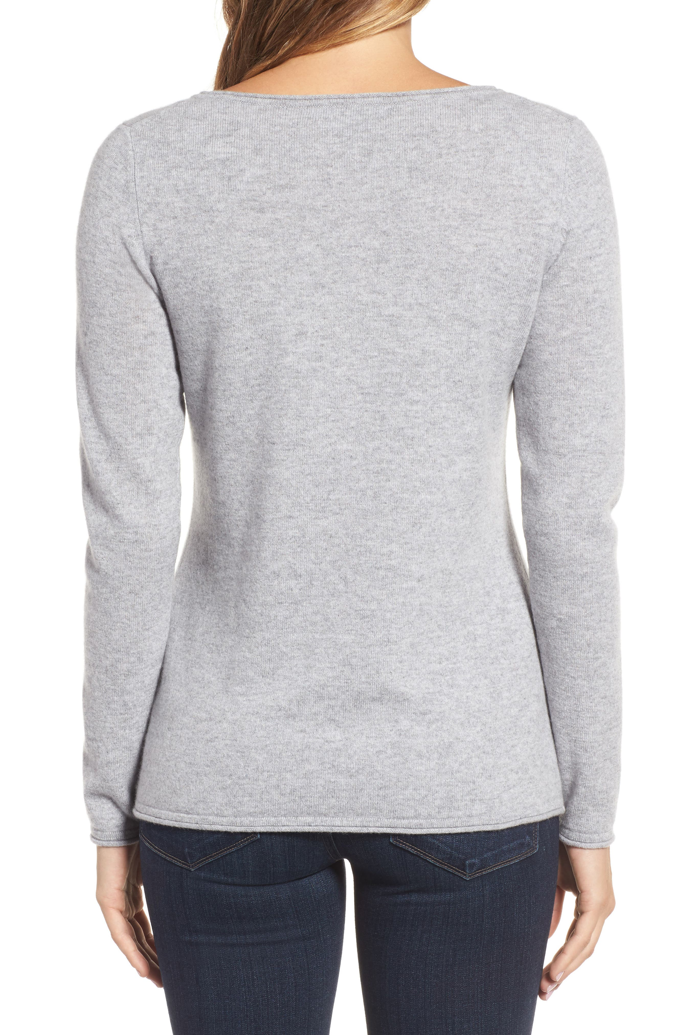 Island Palm Intarsia Cashmere Pullover,                             Alternate thumbnail 2, color,                             Light Grey Heather
