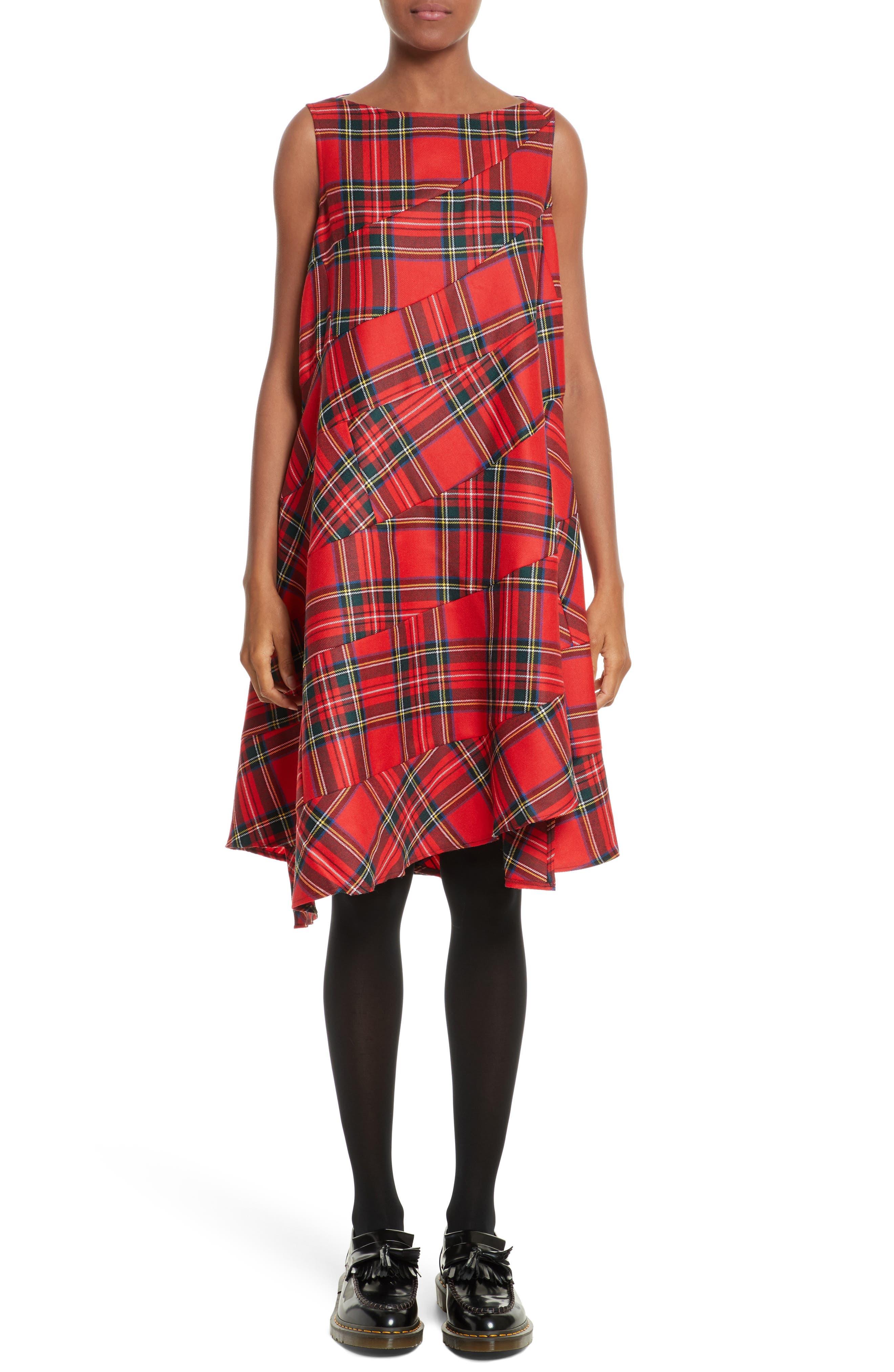 Tartan Plaid Dress,                         Main,                         color, Red