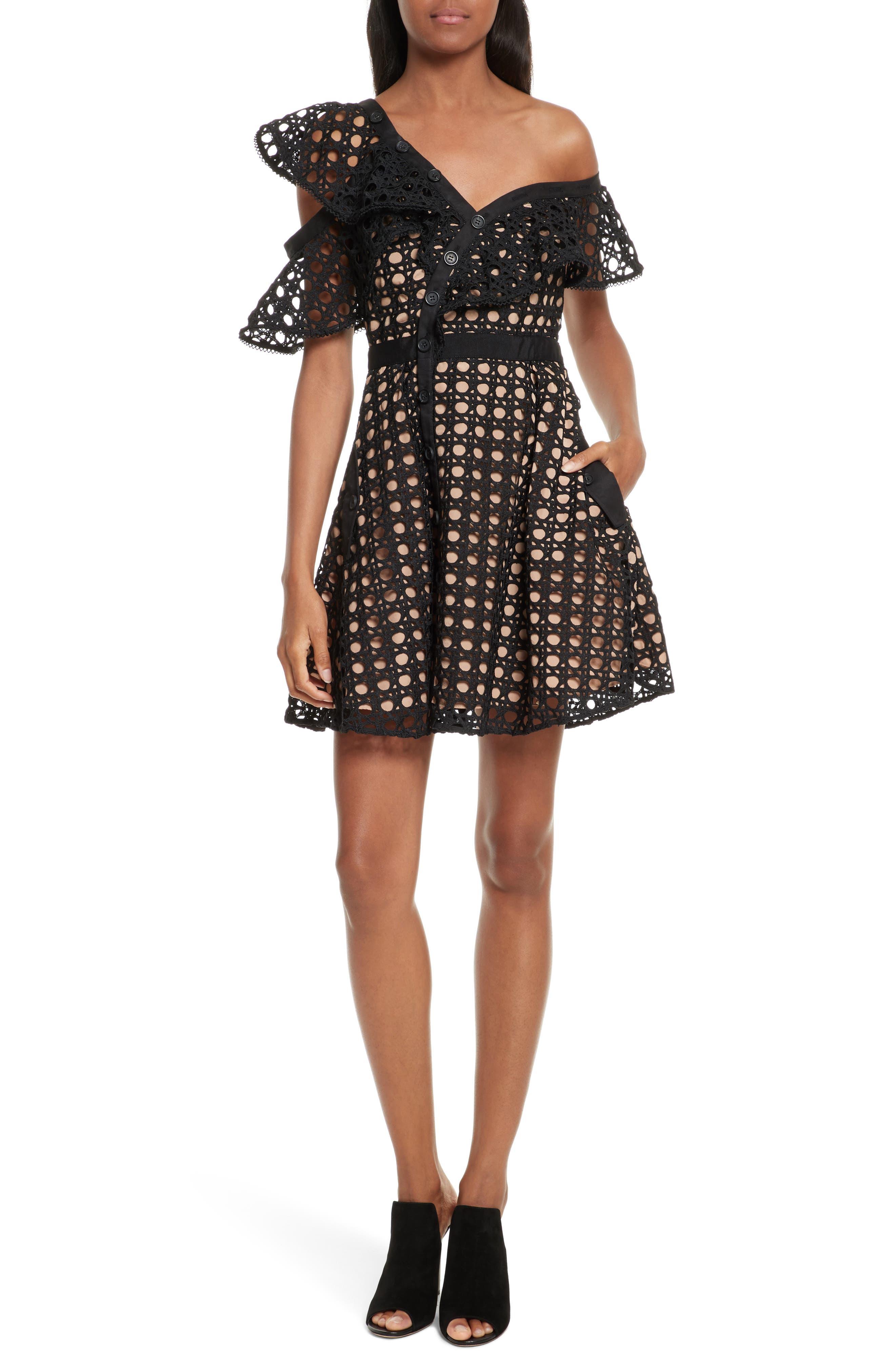 Lace Frill Minidress,                         Main,                         color, Black