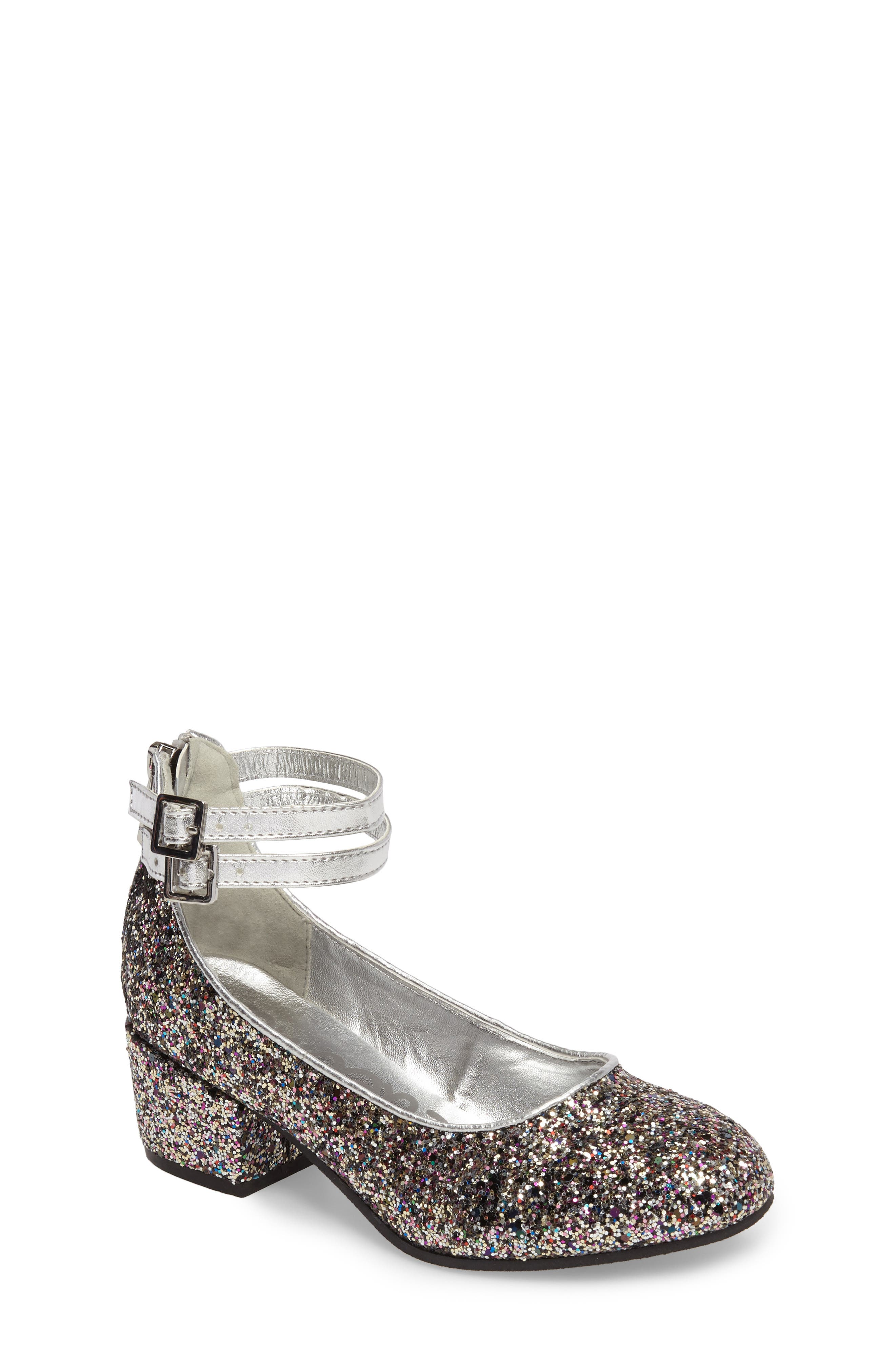 Sam Edelman Evelyn Bree Ankle Strap Glitter Pump (Toddler, Little Kid & Big Kid)
