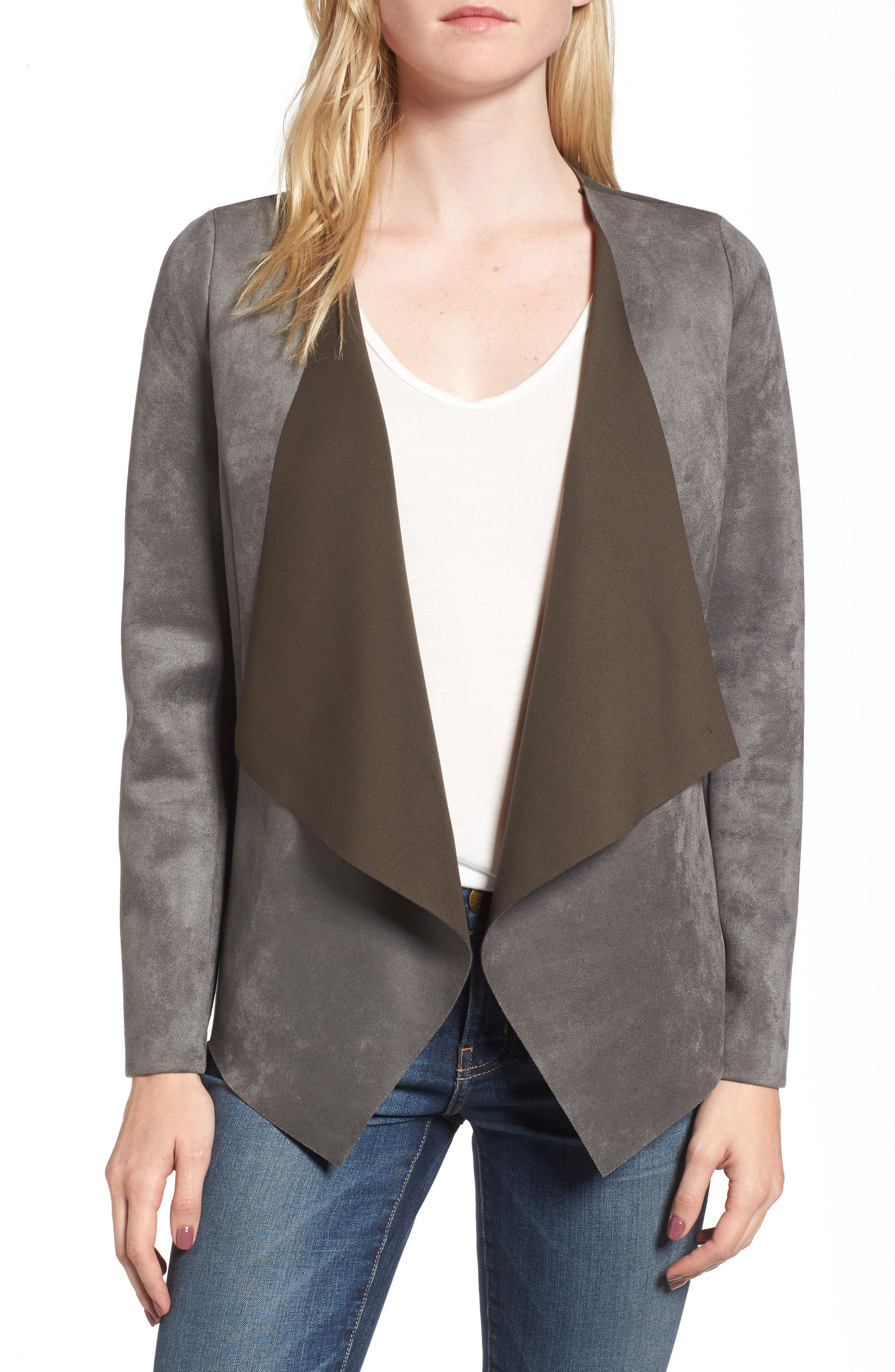 Faux Suede Jacket,                         Main,                         color, Grey