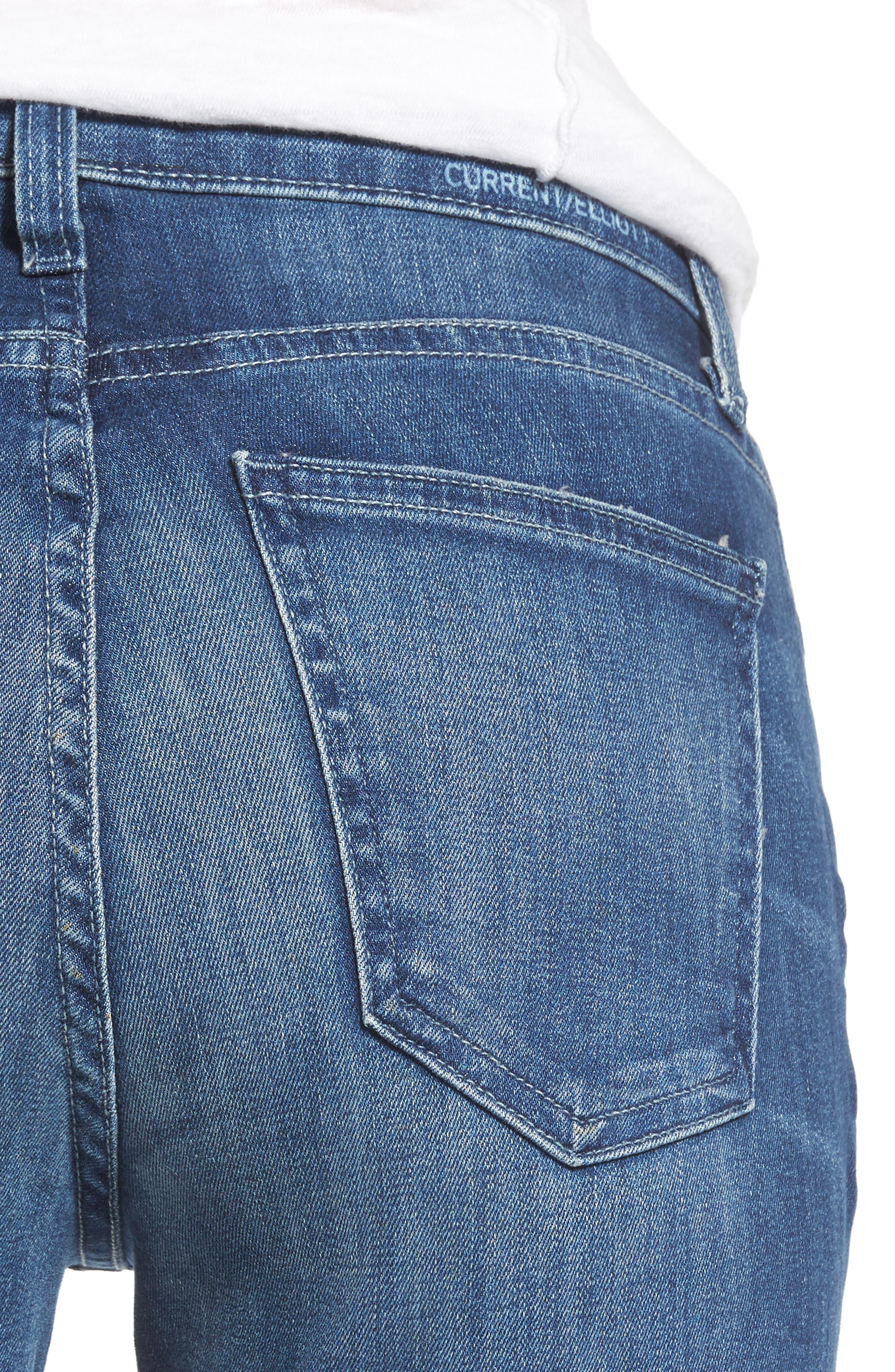 The Stiletto High Waist Skinny Jeans,                             Alternate thumbnail 4, color,                             Sahara Destroy