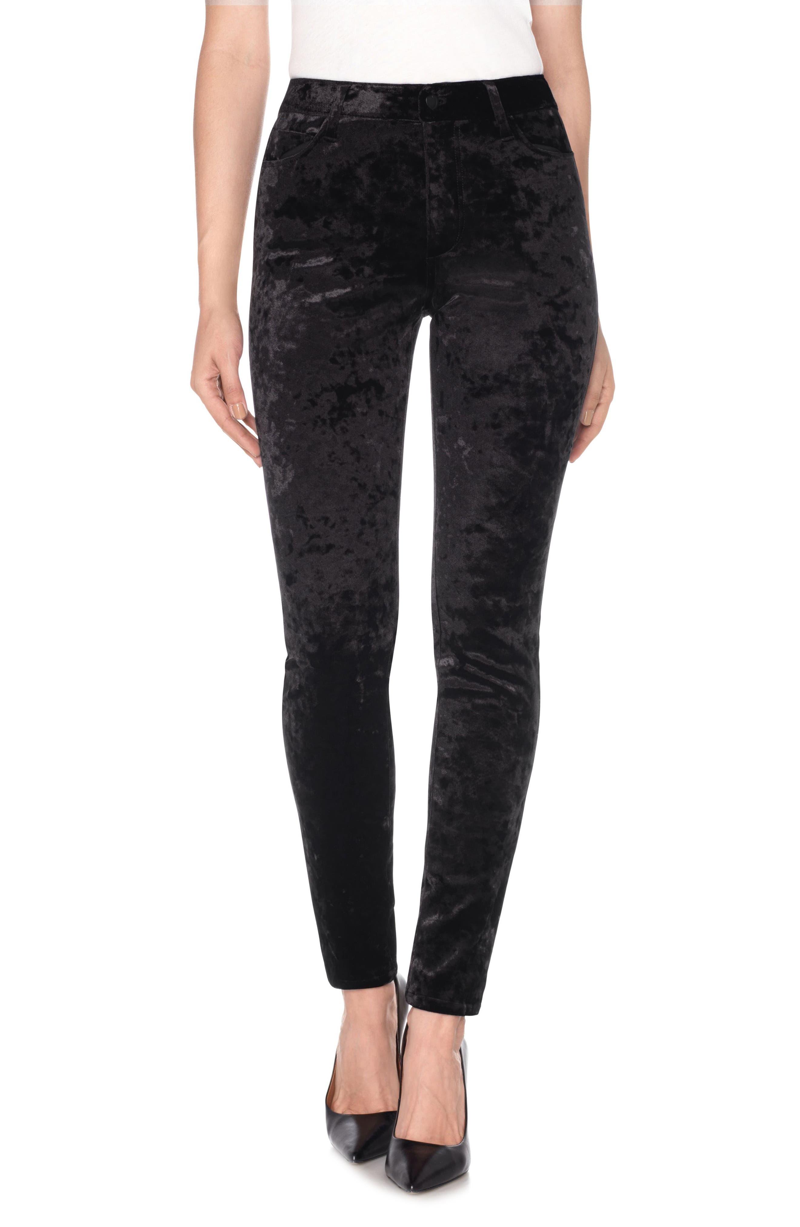 Charlie High Waist Ankle Skinny Velvet Pants,                             Main thumbnail 1, color,                             Black