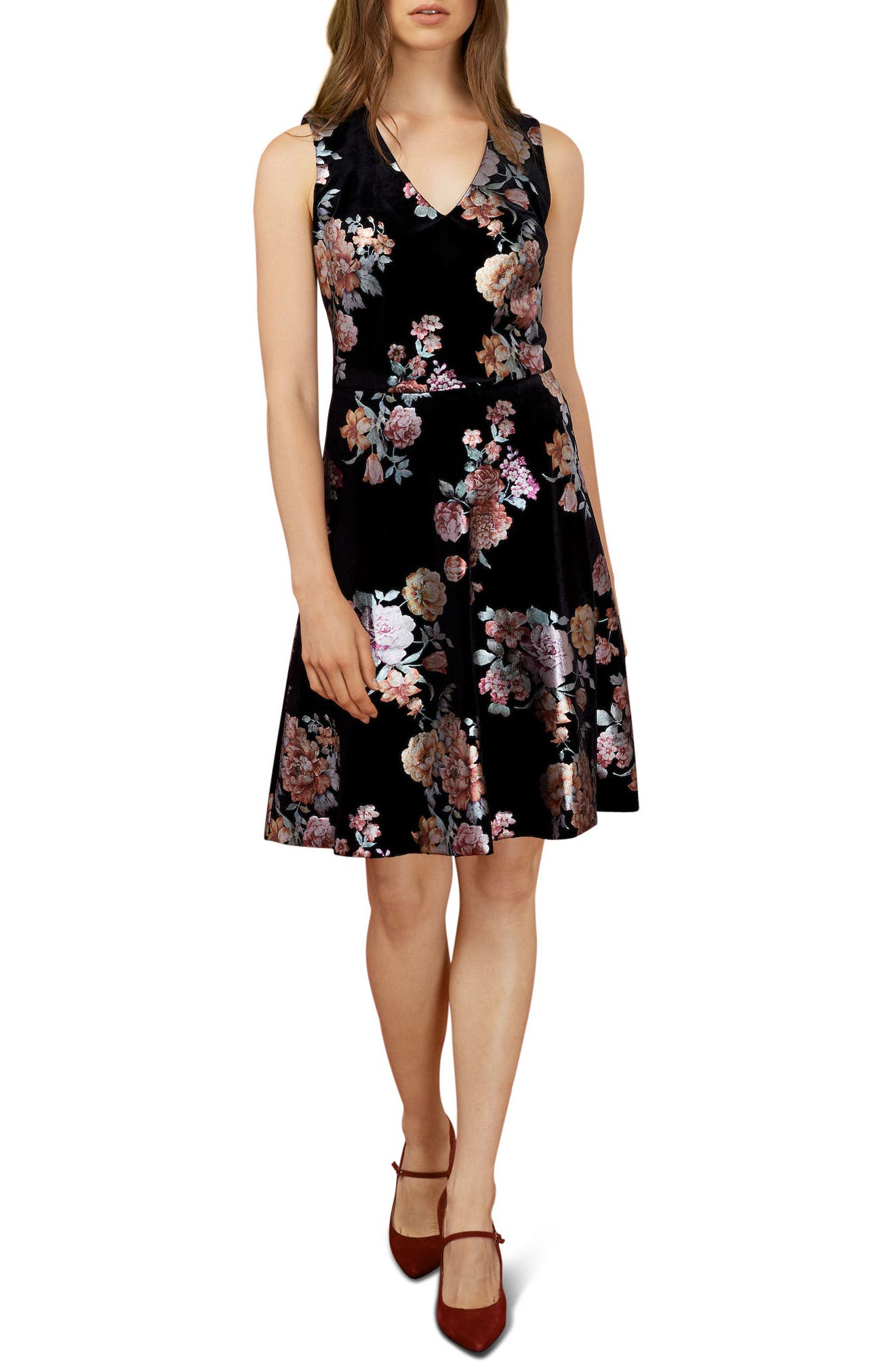 Metallic Floral Velvet A-Line Dress,                         Main,                         color, Black/ Orange