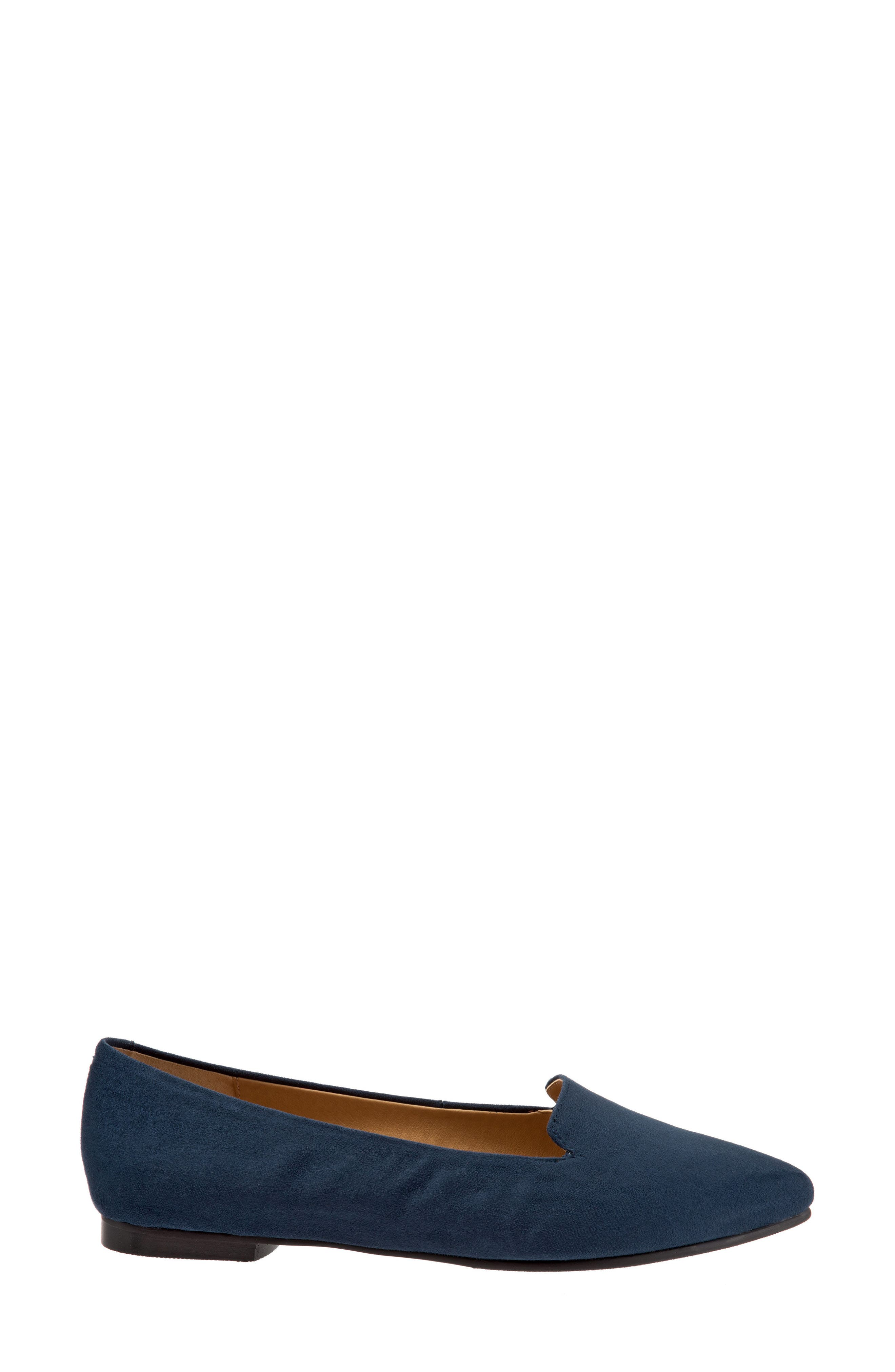 Harlowe Pointy Toe Loafer,                             Alternate thumbnail 3, color,                             Navy Leather