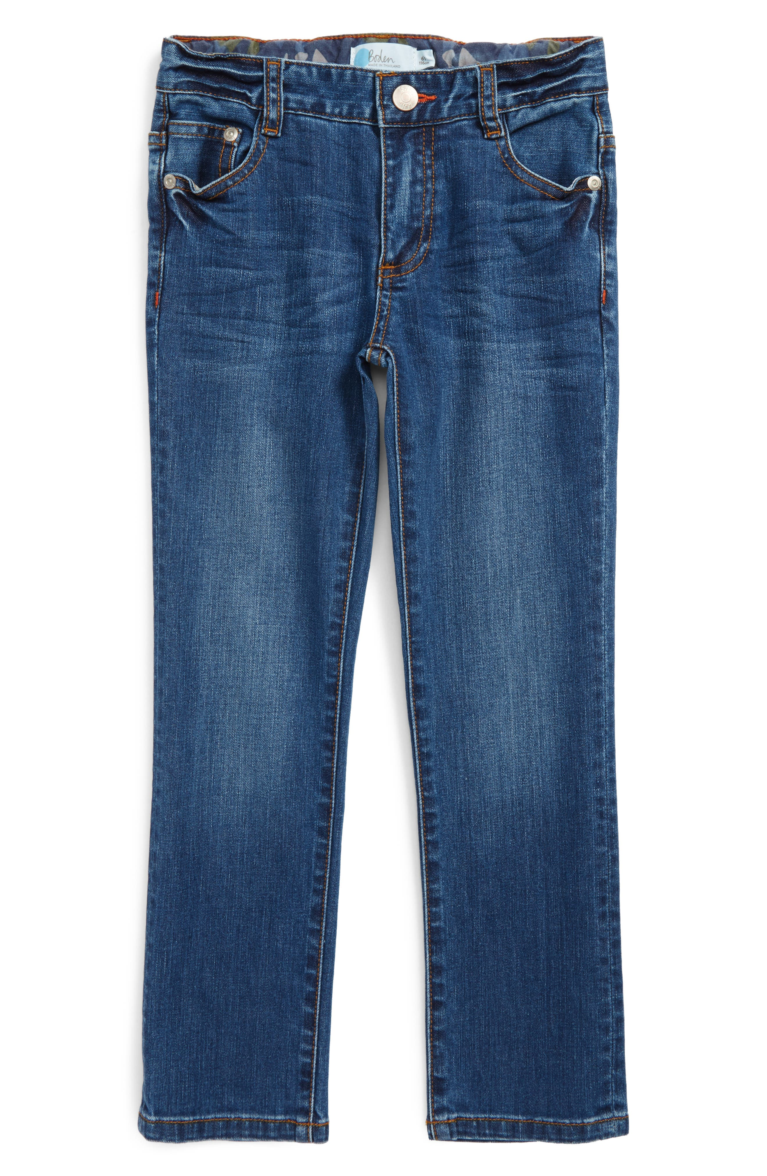 Alternate Image 1 Selected - Mini Boden Slim Straight Leg Jeans (Toddler Boys, Little Boys & Big Boys)