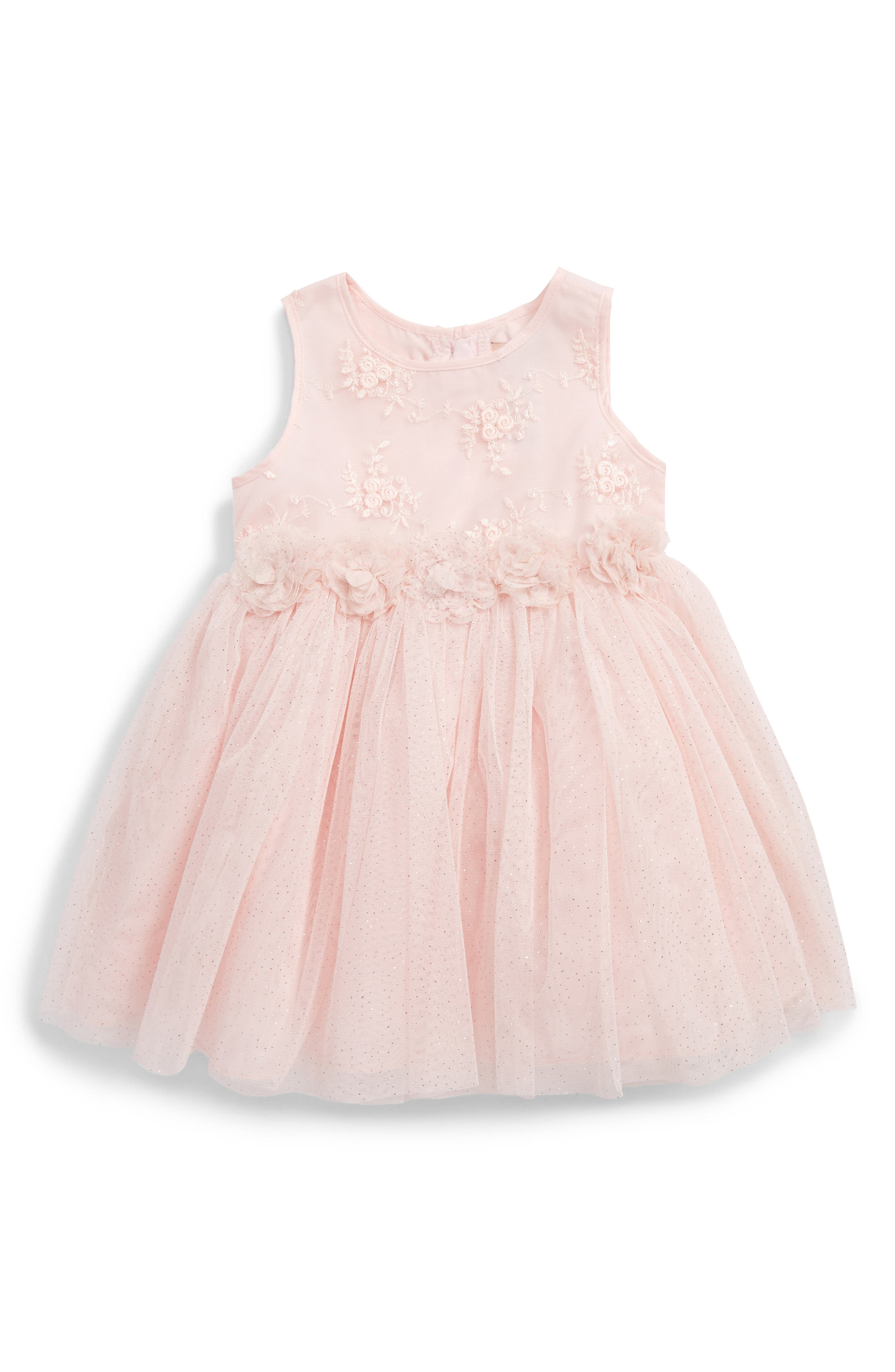 Embroidered Tulle Dress,                         Main,                         color, Pink