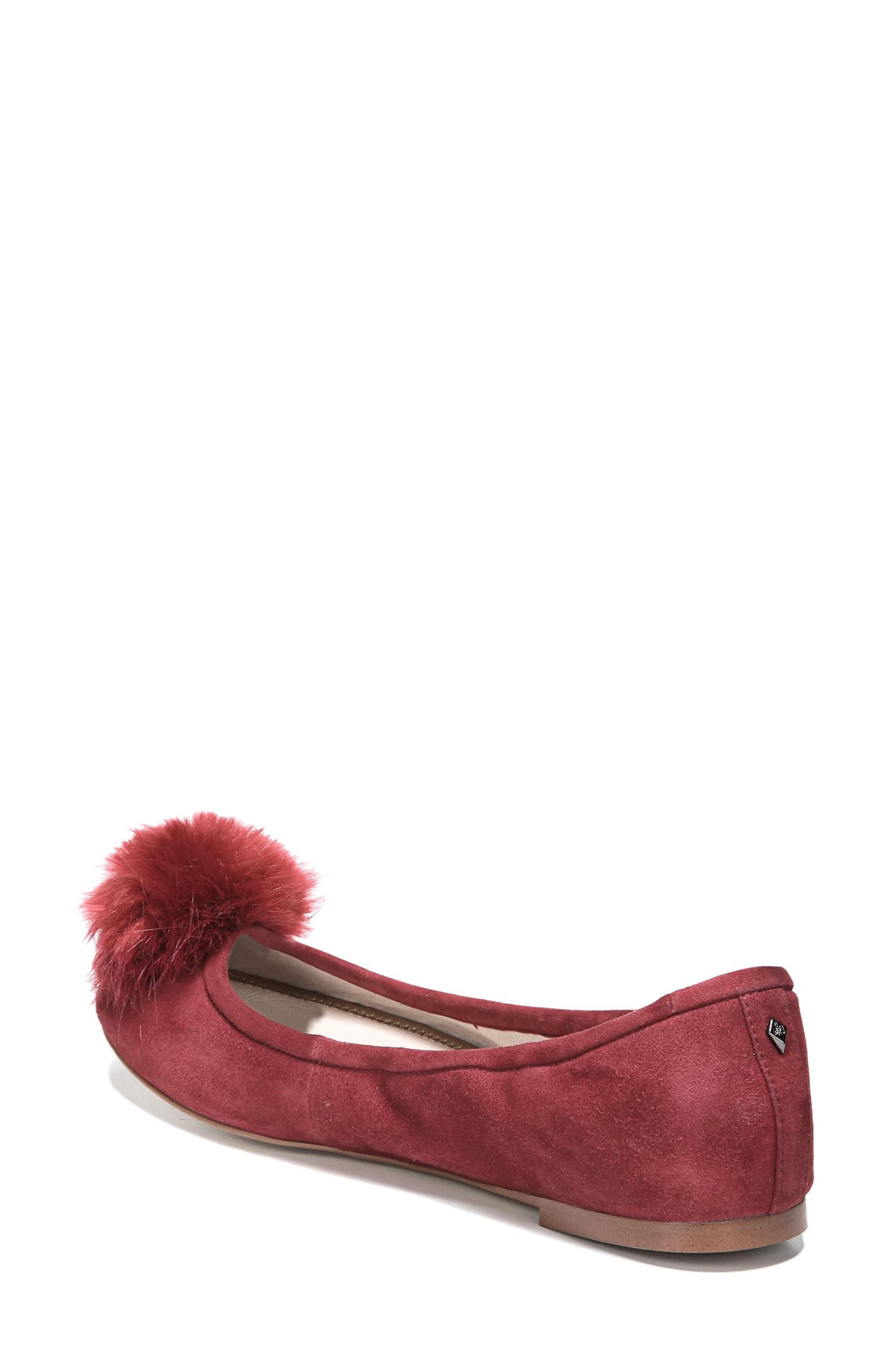 Farina Flat with Faux Fur Pompom,                             Alternate thumbnail 2, color,                             Tango Red Leather