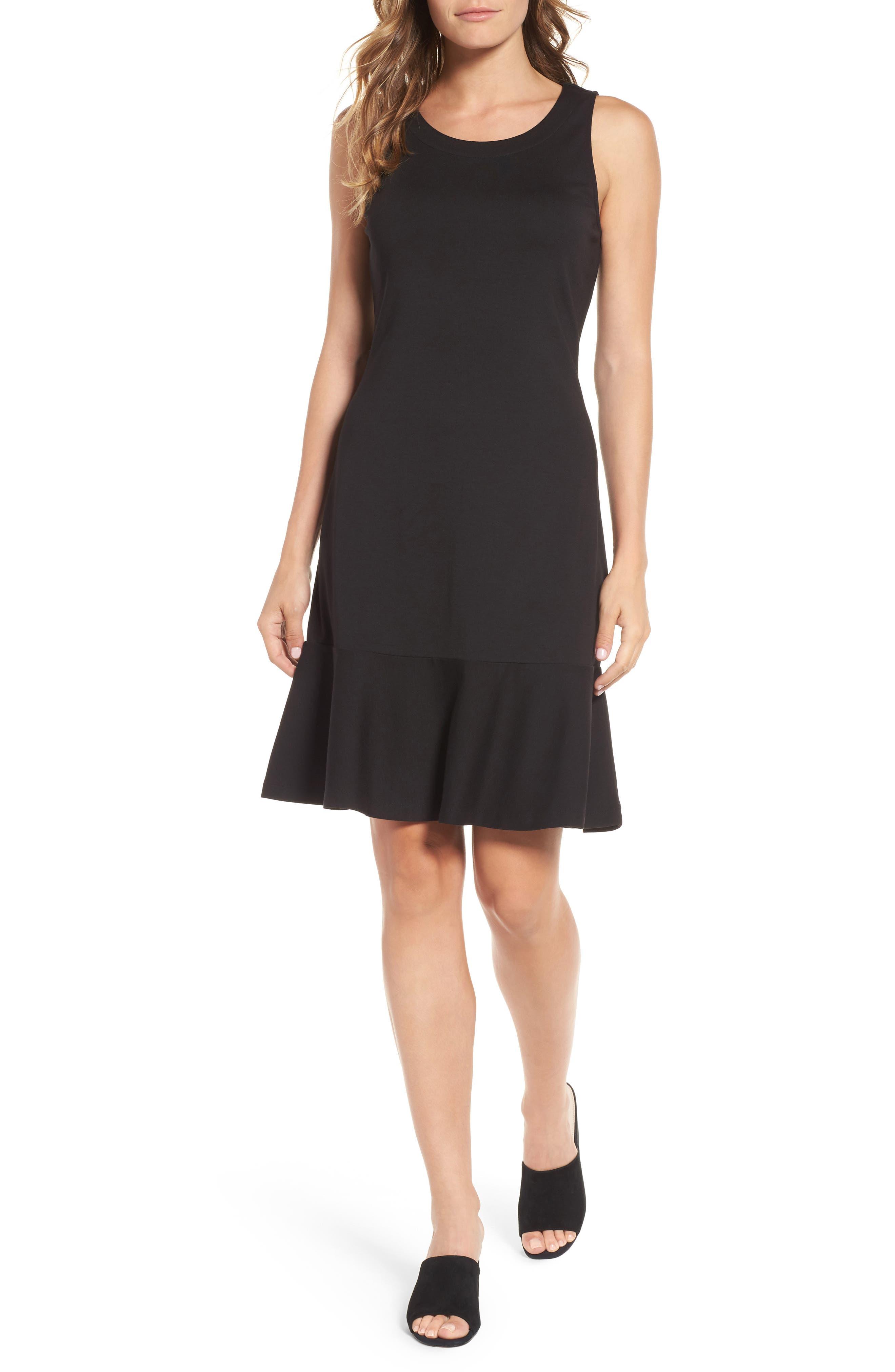 Ponte Knit A-Line Dress,                             Main thumbnail 1, color,                             Black