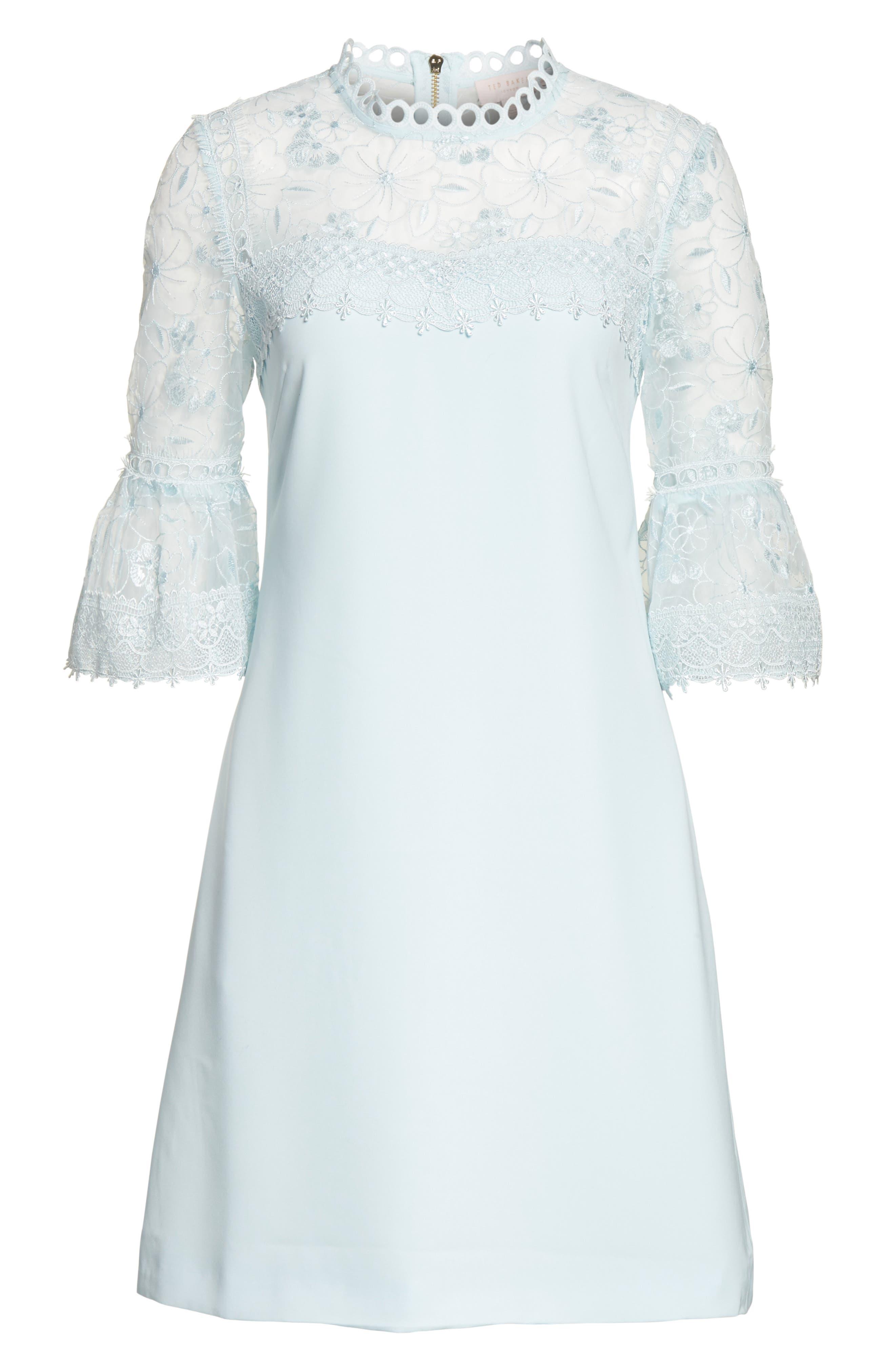 Raechal Lace Sleeve A-Line Dress,                             Main thumbnail 1, color,                             Pale Blue