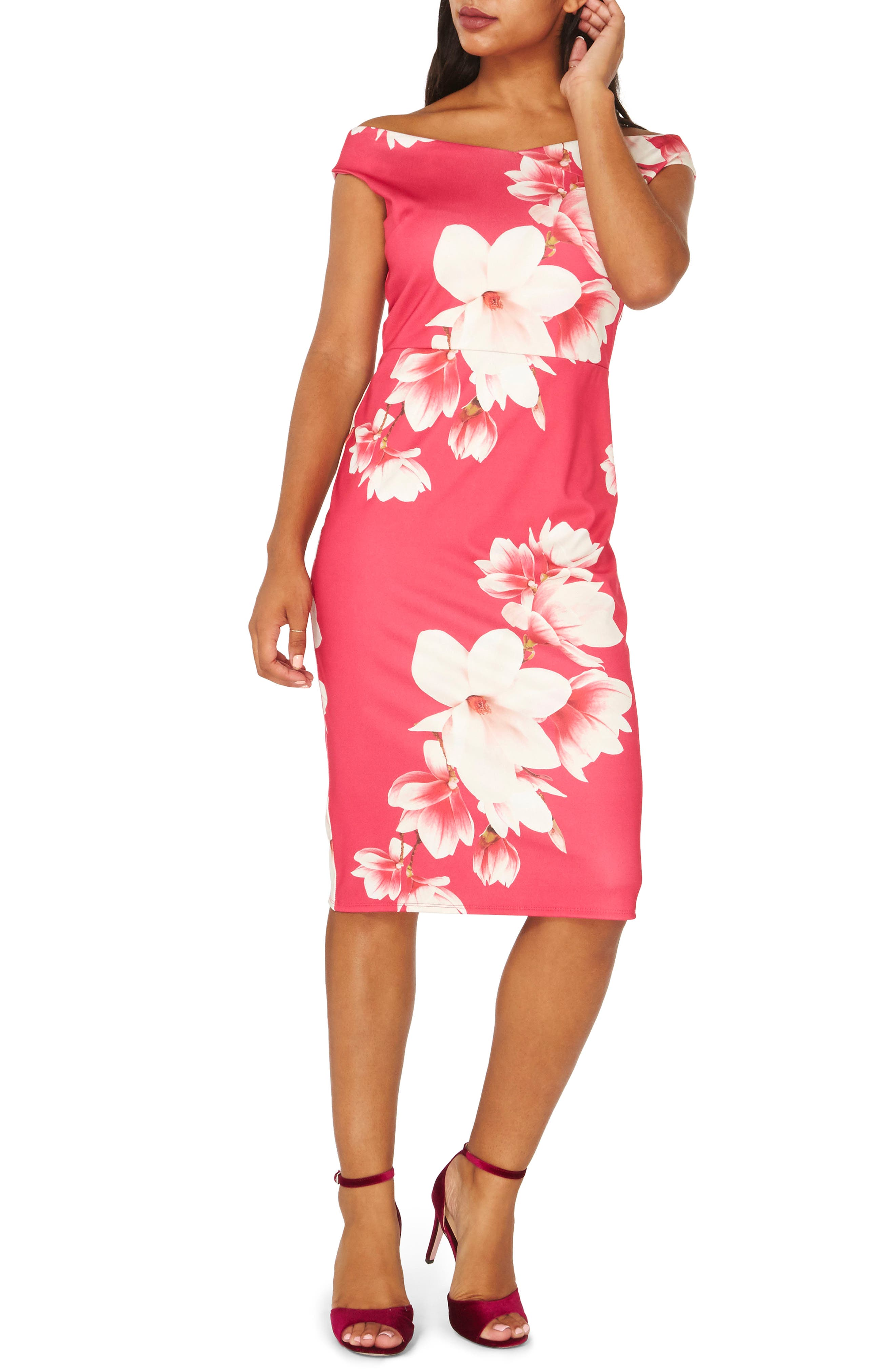 Bardot Sheath Dress,                             Main thumbnail 1, color,                             Pink Floral