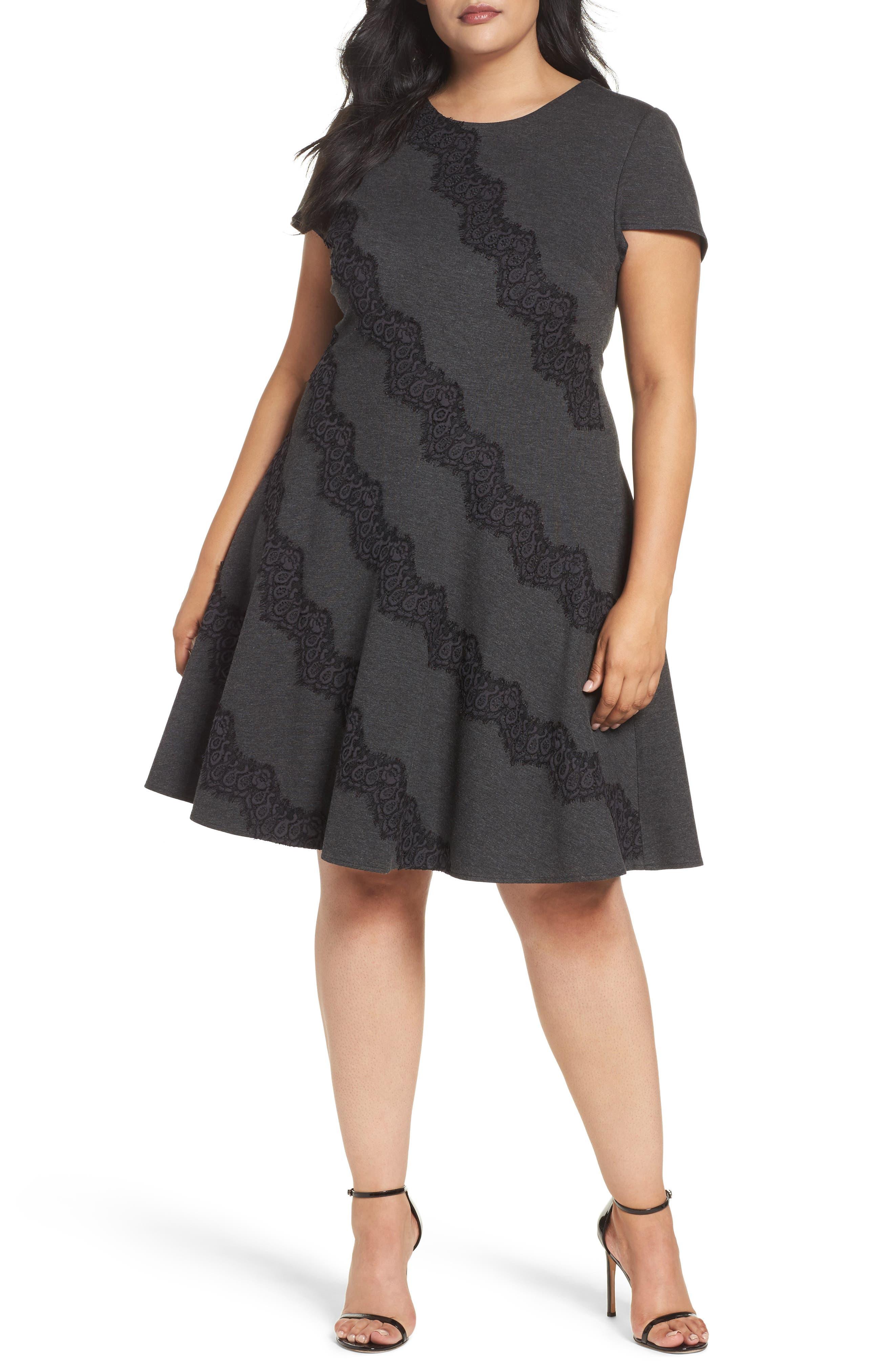 Eliza J Placed Lace Fit & Flare Dress (Plus Size)